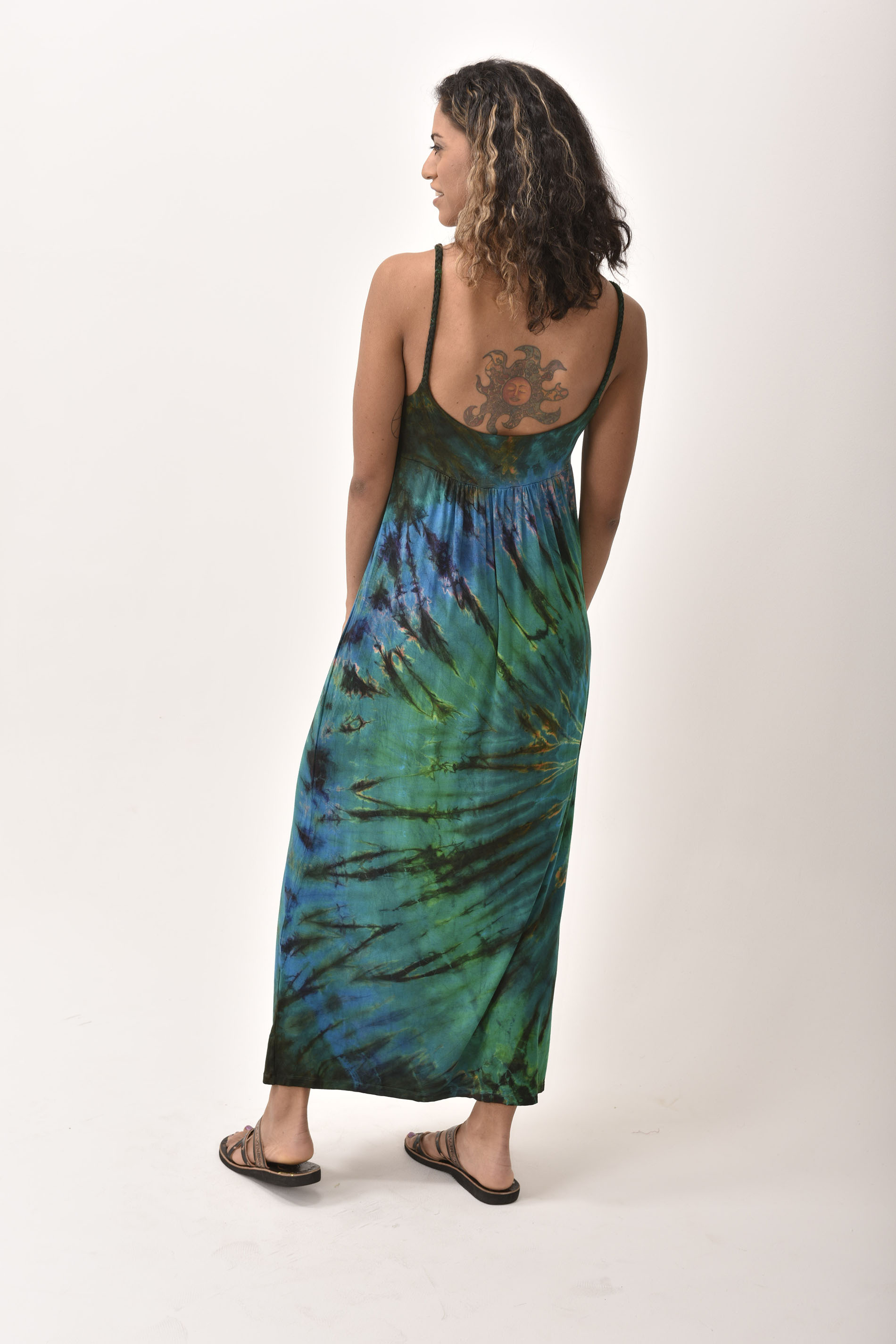 Maxi Dress, Hand Painted Tie Dye, Teal Multi
