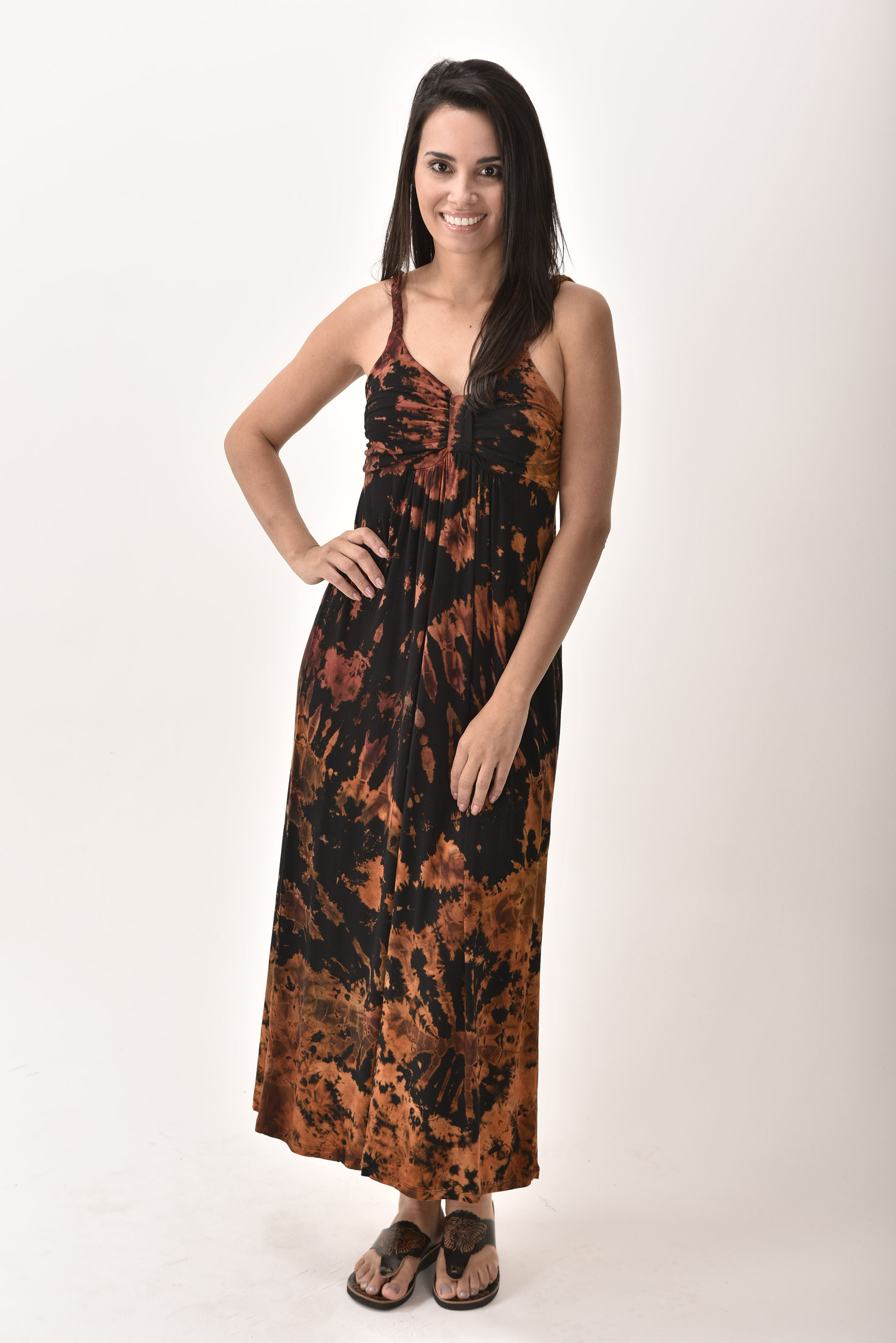 Maxi Dress, Hand Painted Tie Dye, Black Multi