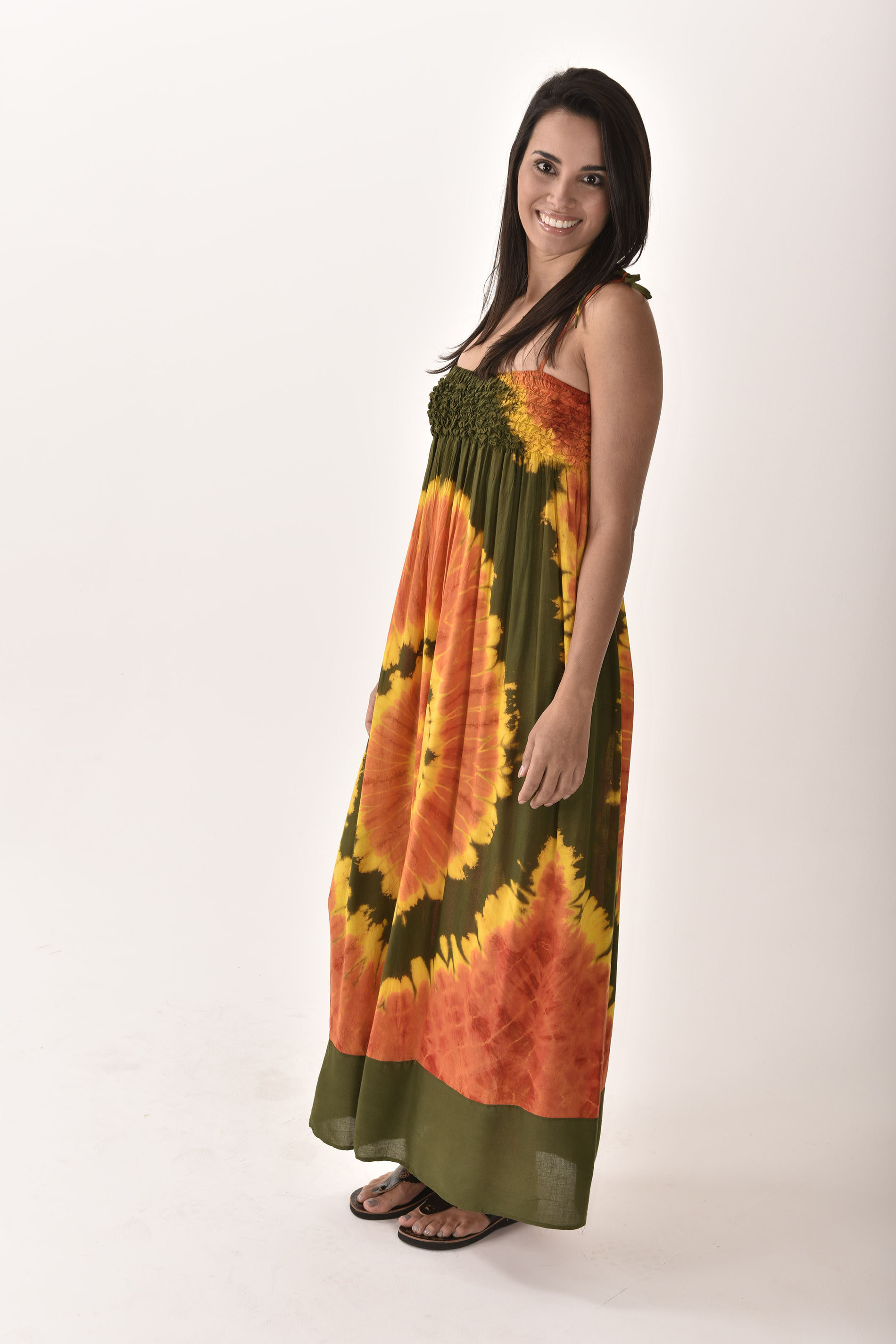 Maxi Dress, Hand Painted Tie Dye Orange Purple
