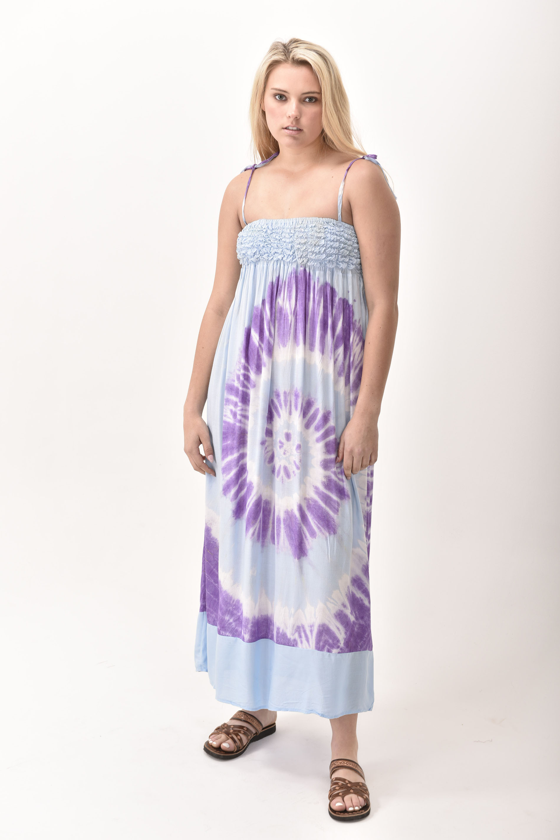 Maxi Dress, Hand Painted Tie Dye, Purple