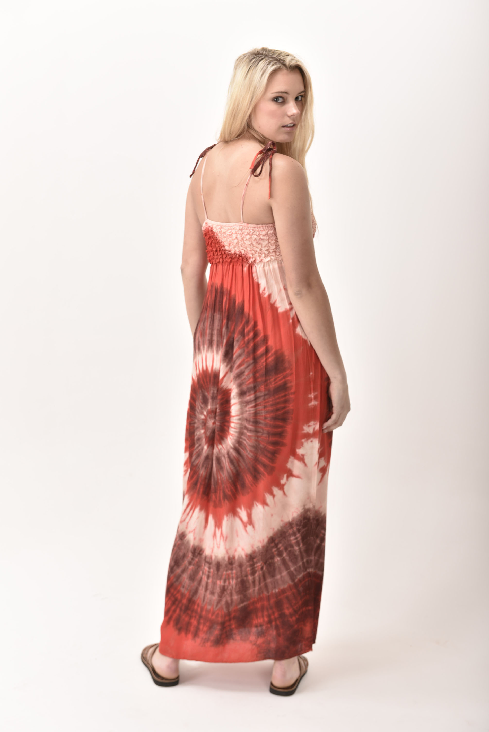 Maxi Dress, Hand Painted Tie Dye, Red
