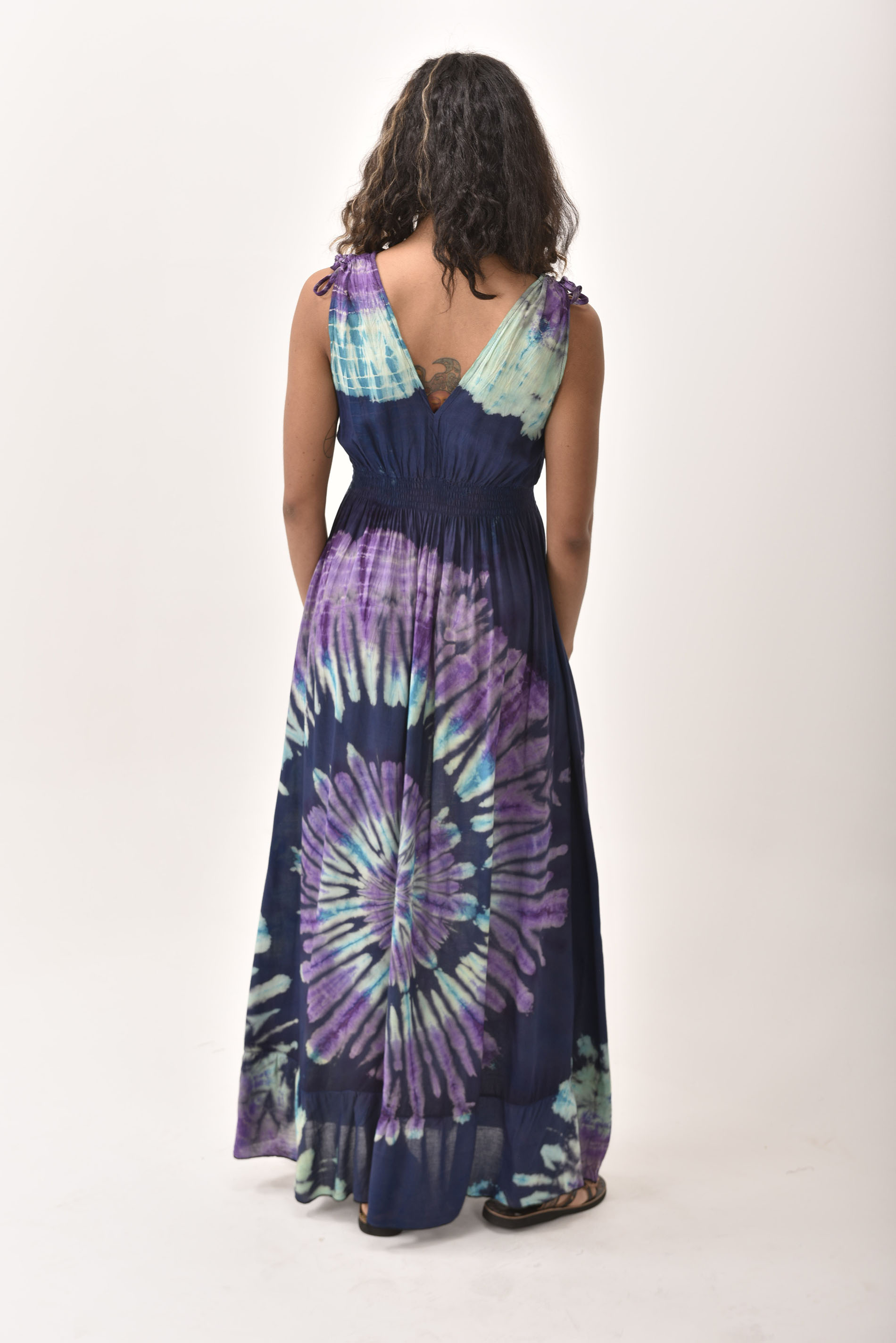 V-Neck Maxi Dress Hand Painted Tie Dye, Blue Purple