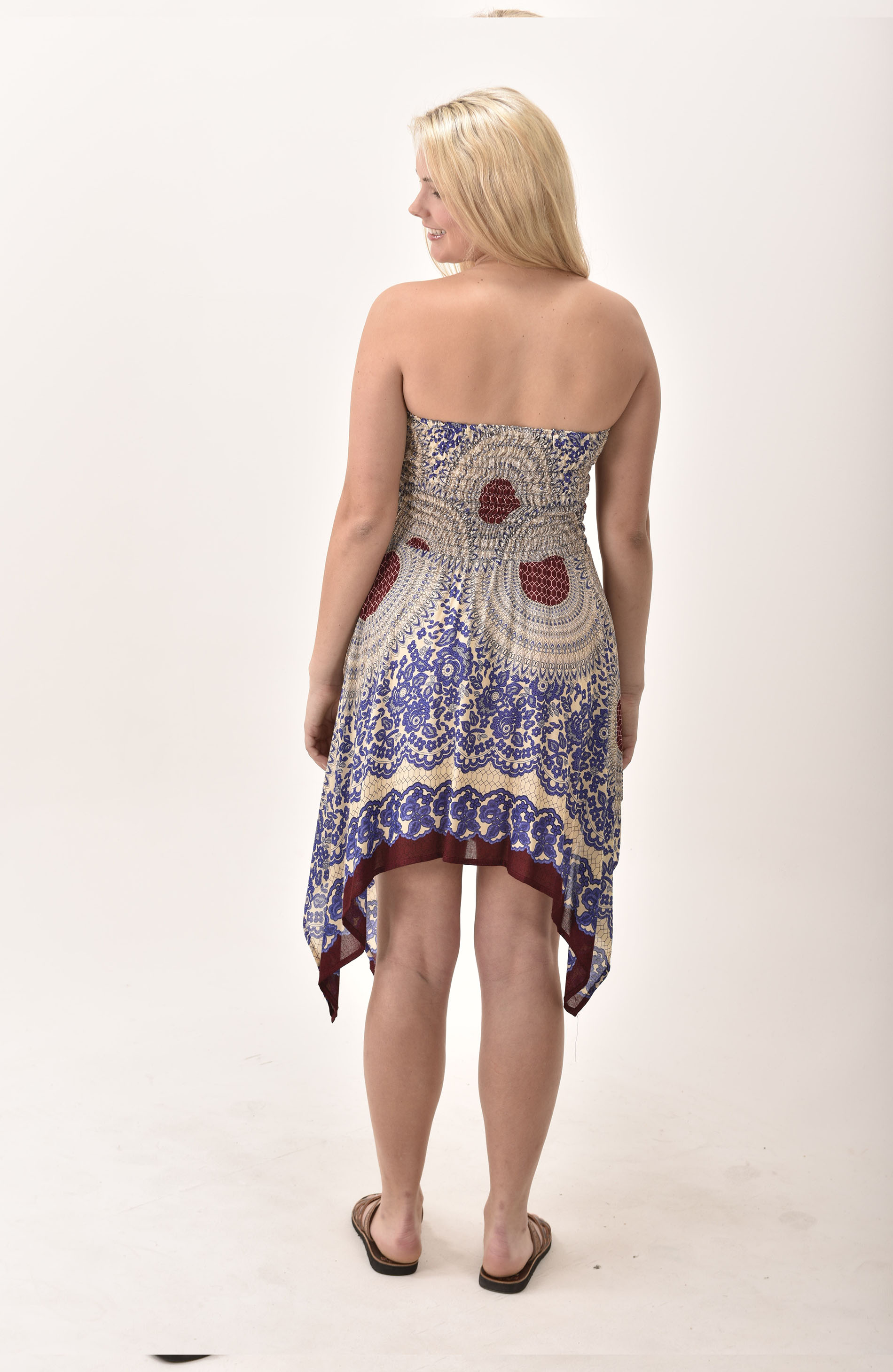 Honeycomb Print Rayon Fairy Dress / Skirt Blue