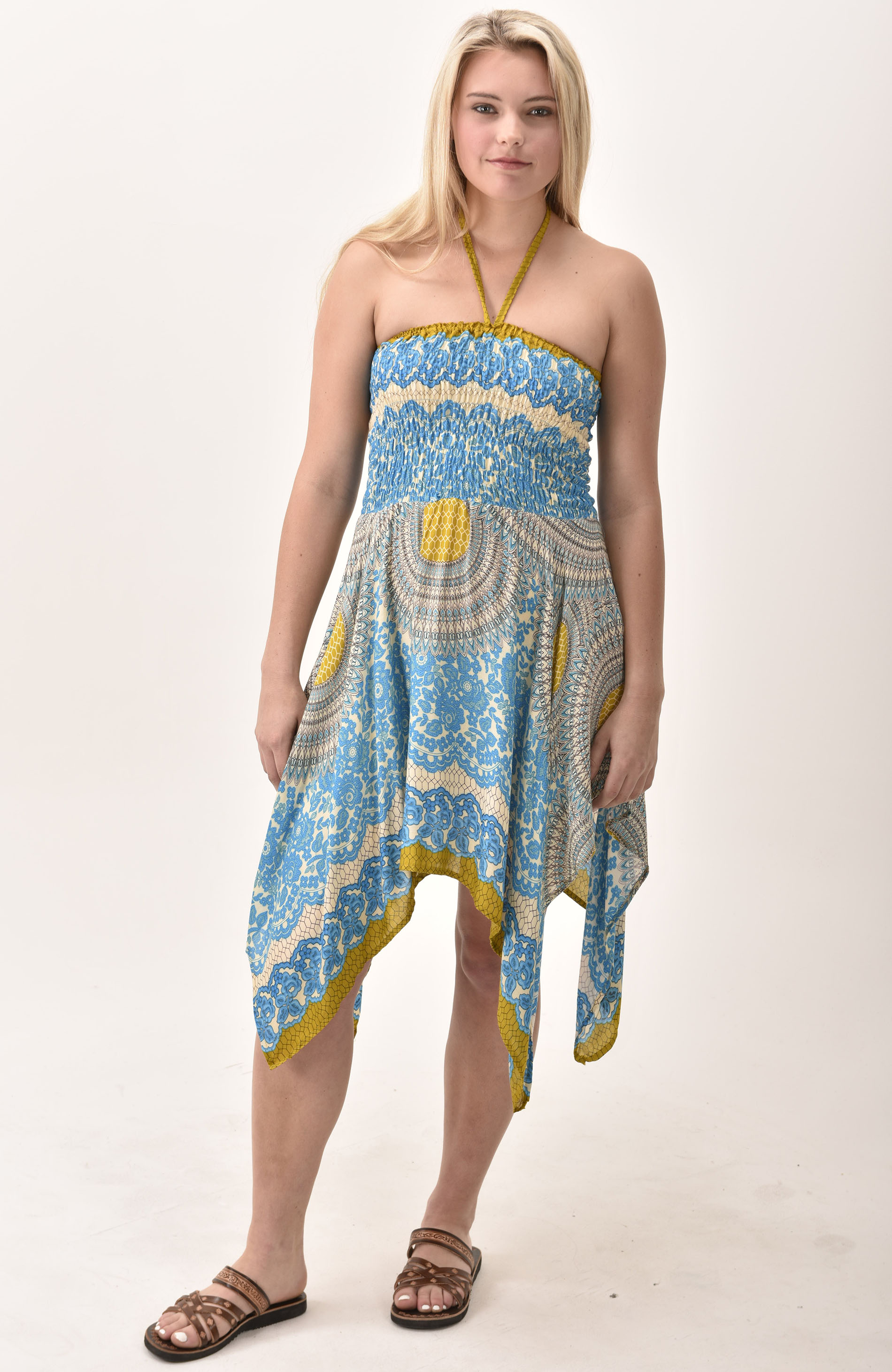 Honeycomb Print Rayon Fairy Dress / Skirt Teal
