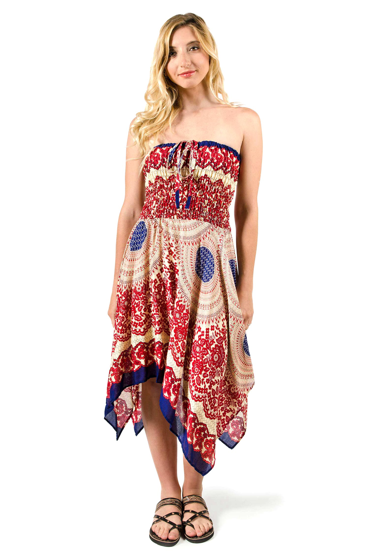 Convertible Print Fairy Dress / Skirt - Red - 3135R