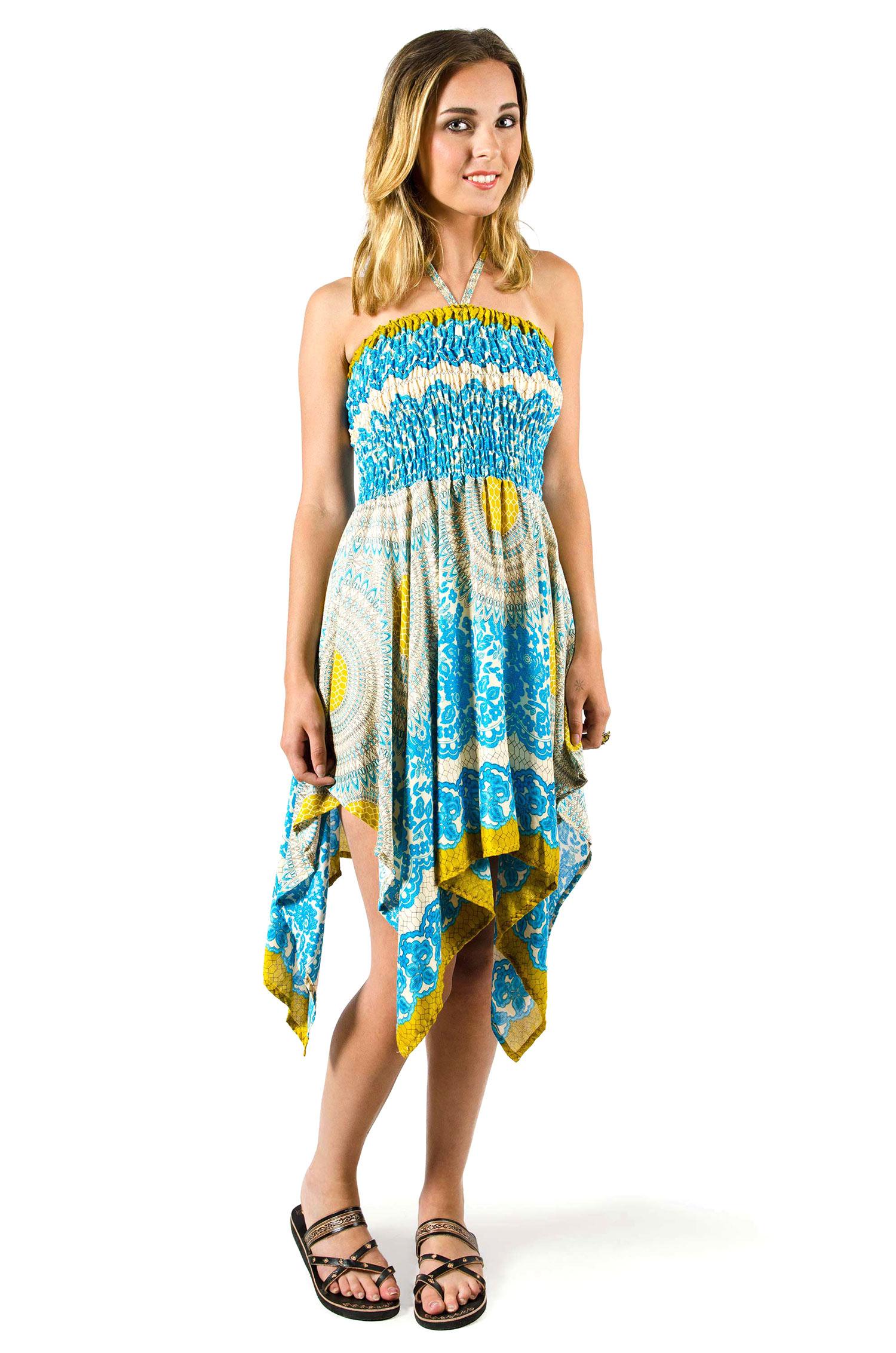Convertible Print Fairy Dress / Skirt - Teal - 3135T