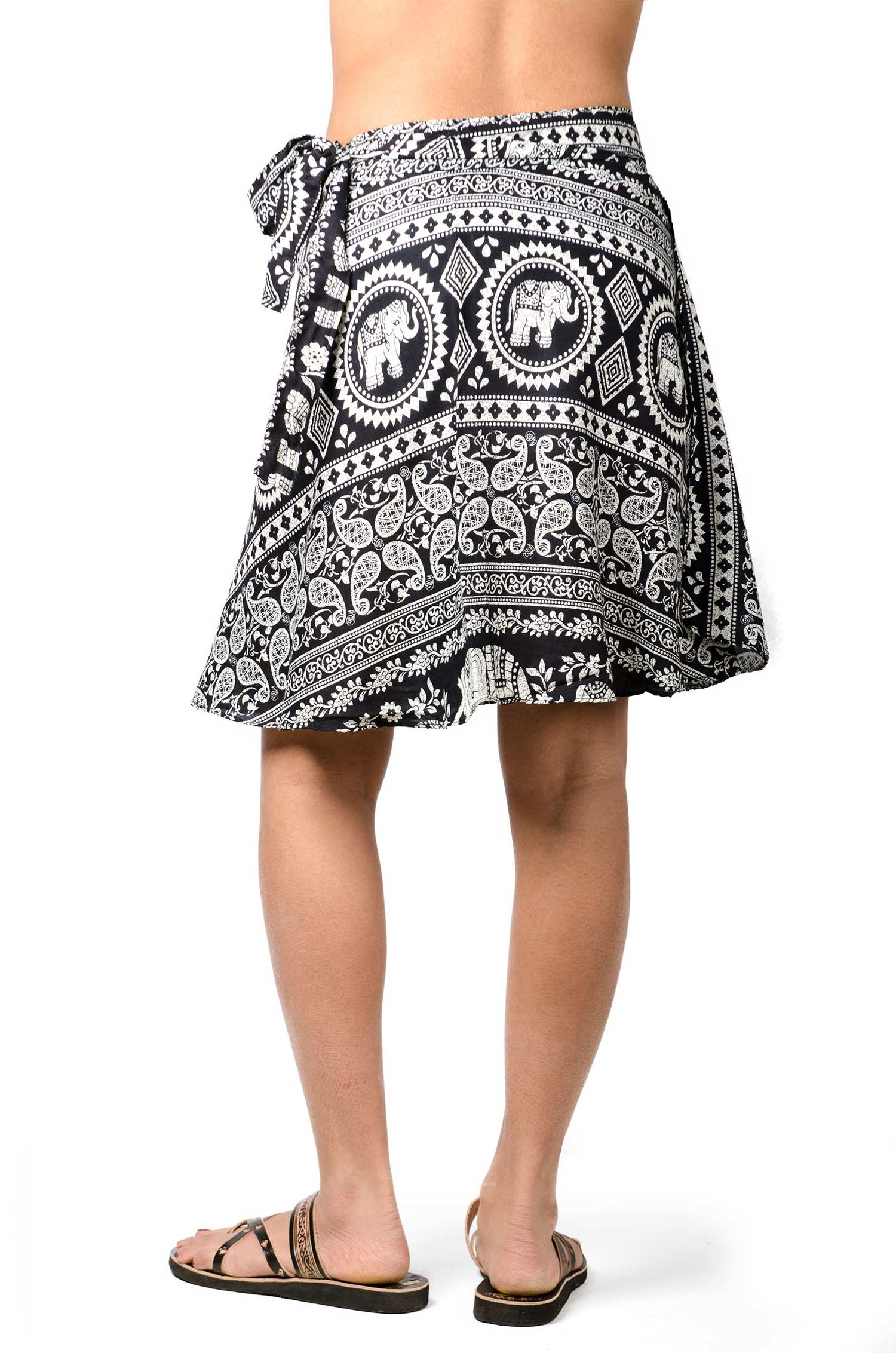 Elephant Print Short Wrap Skirt Black