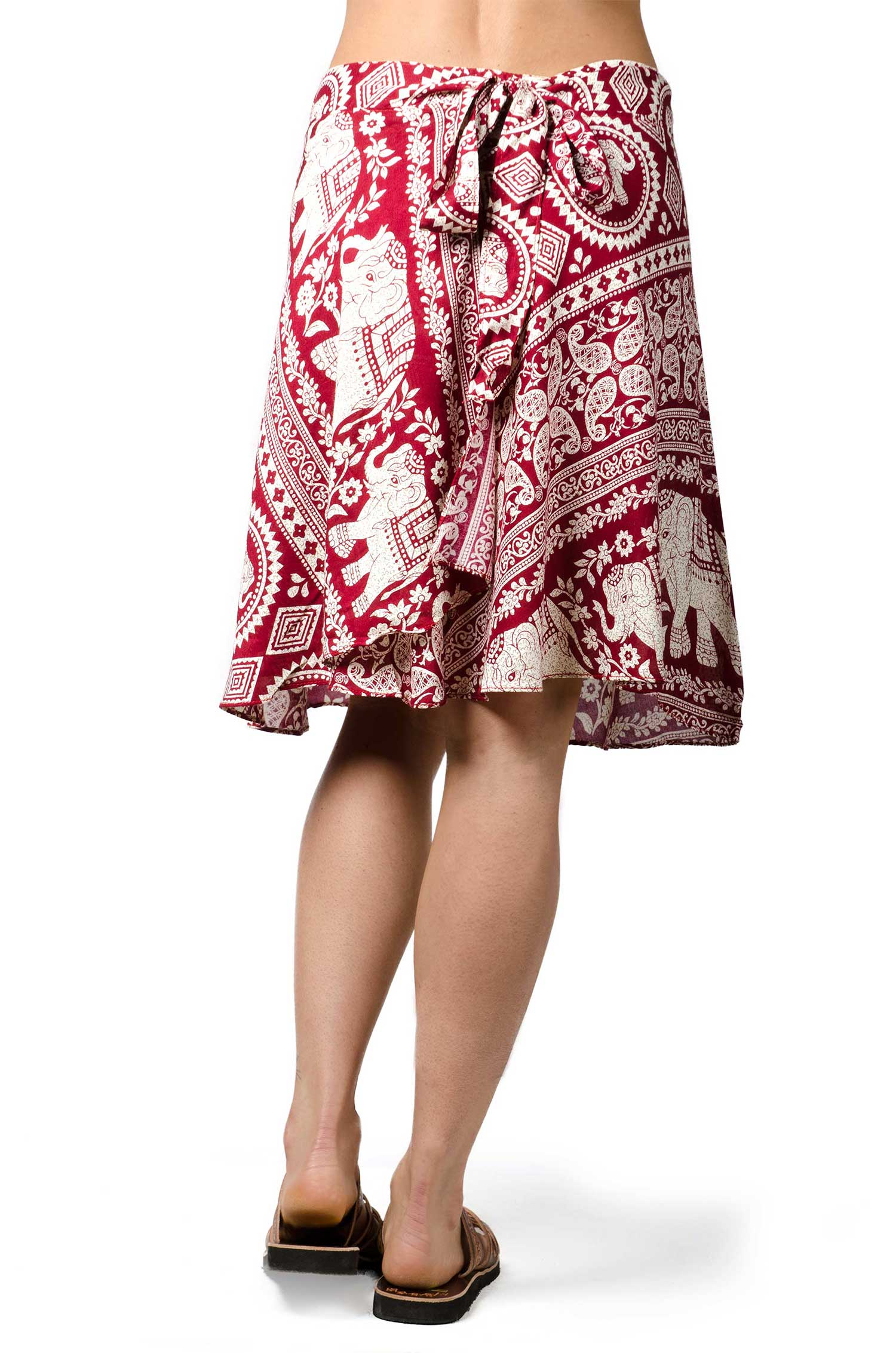 Elephant Print Short Wrap Skirt - Red
