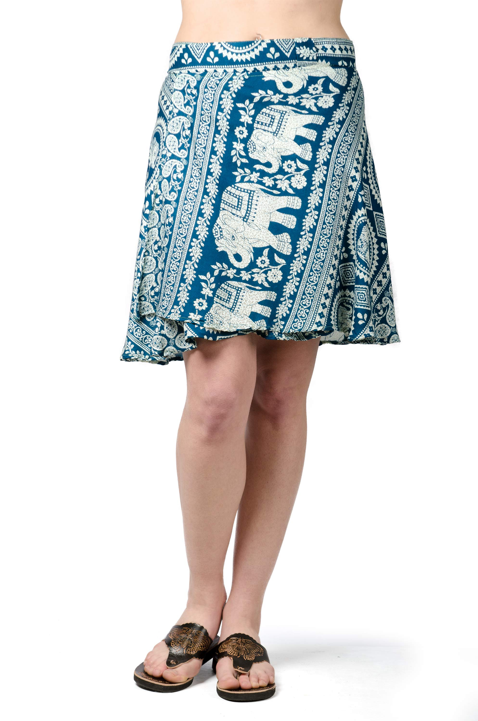 Elephant Print Short Wrap Skirt Teal
