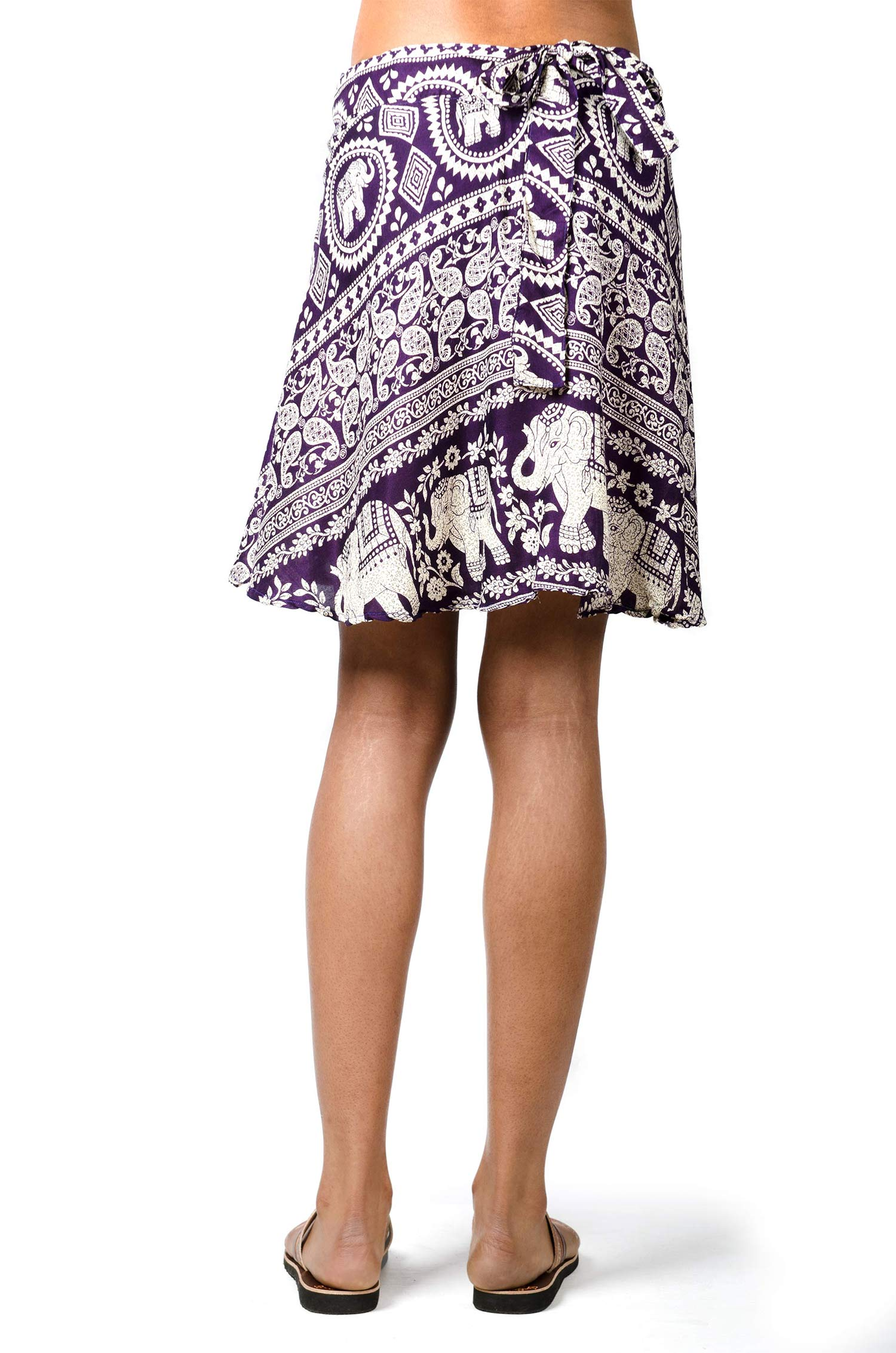 Elephant Print Short Wrap Skirt Purple