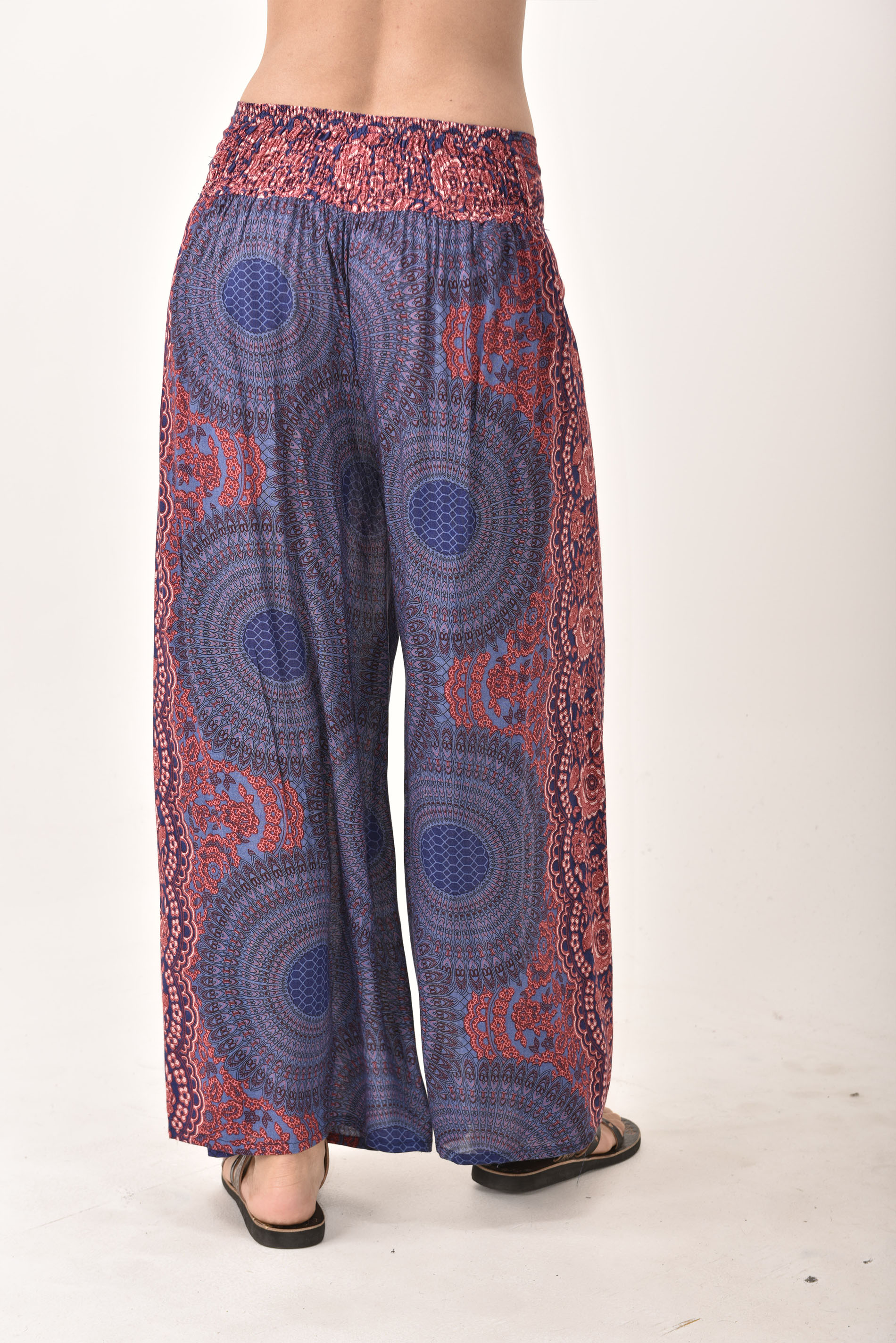 Honeycomb Print Wrap Leg Pants, Blue