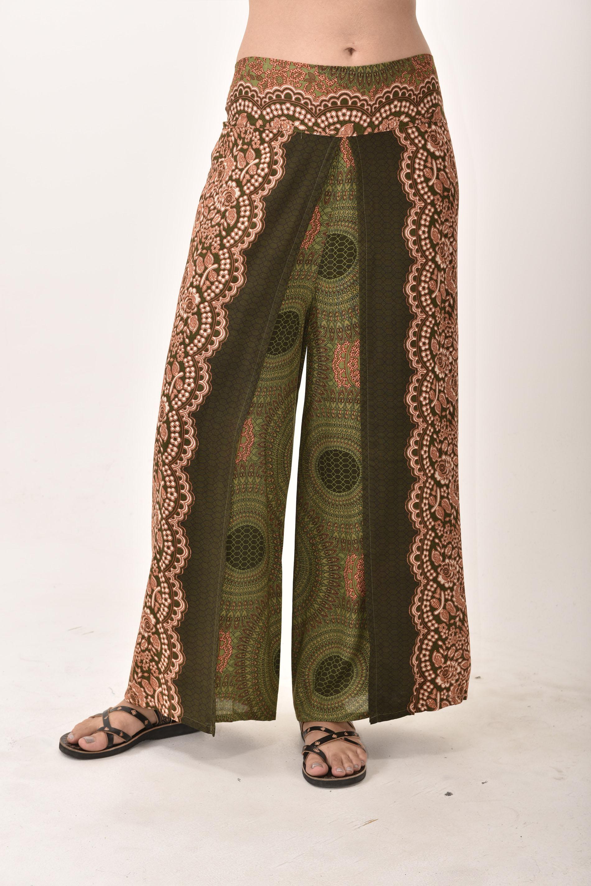 Honeycomb Print Wrap Leg Print Pants - Olive