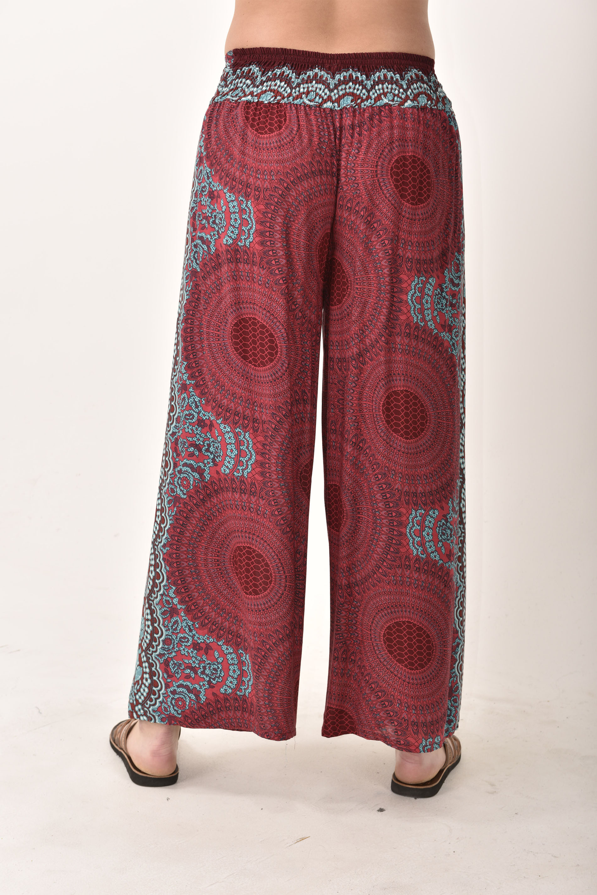 Wrap Leg Pants Honeycomb Print, Red