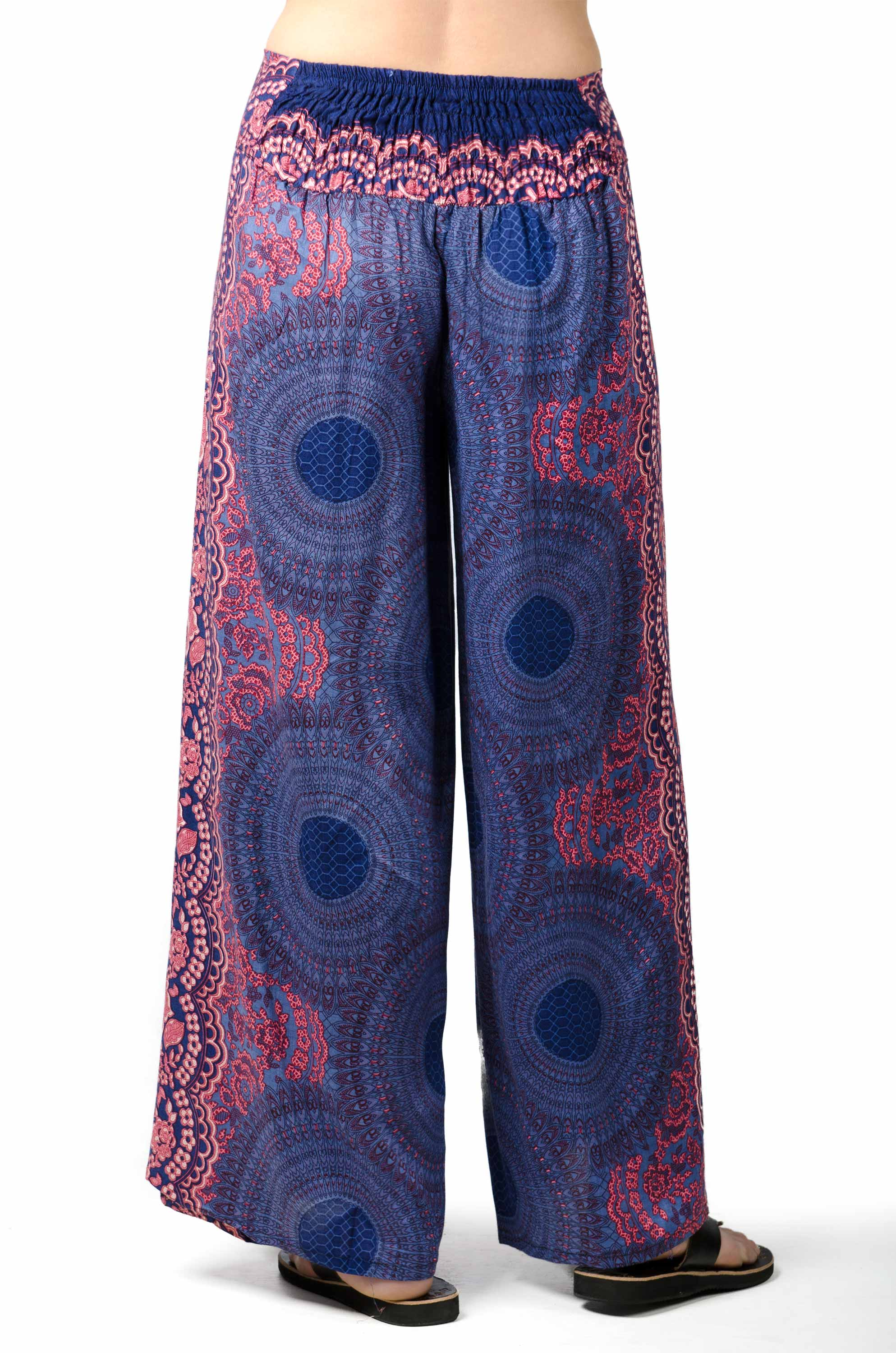 Wrap Leg Print Pants - Blue