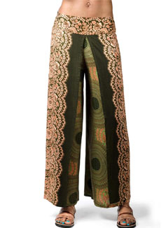 Wrap Leg Print Pants - Olive