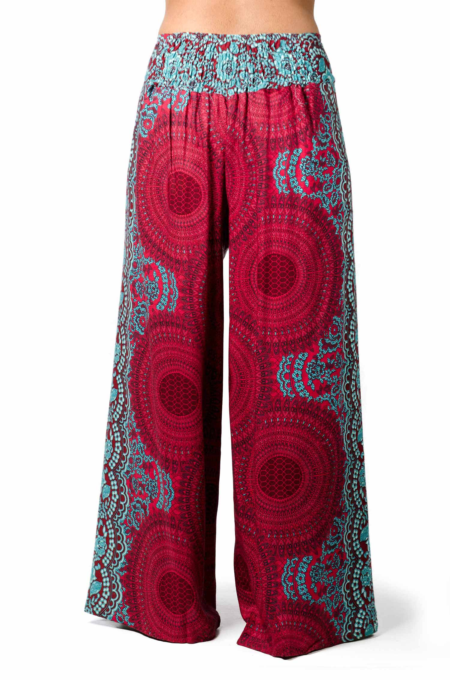 Wrap Leg Print Pants - Red