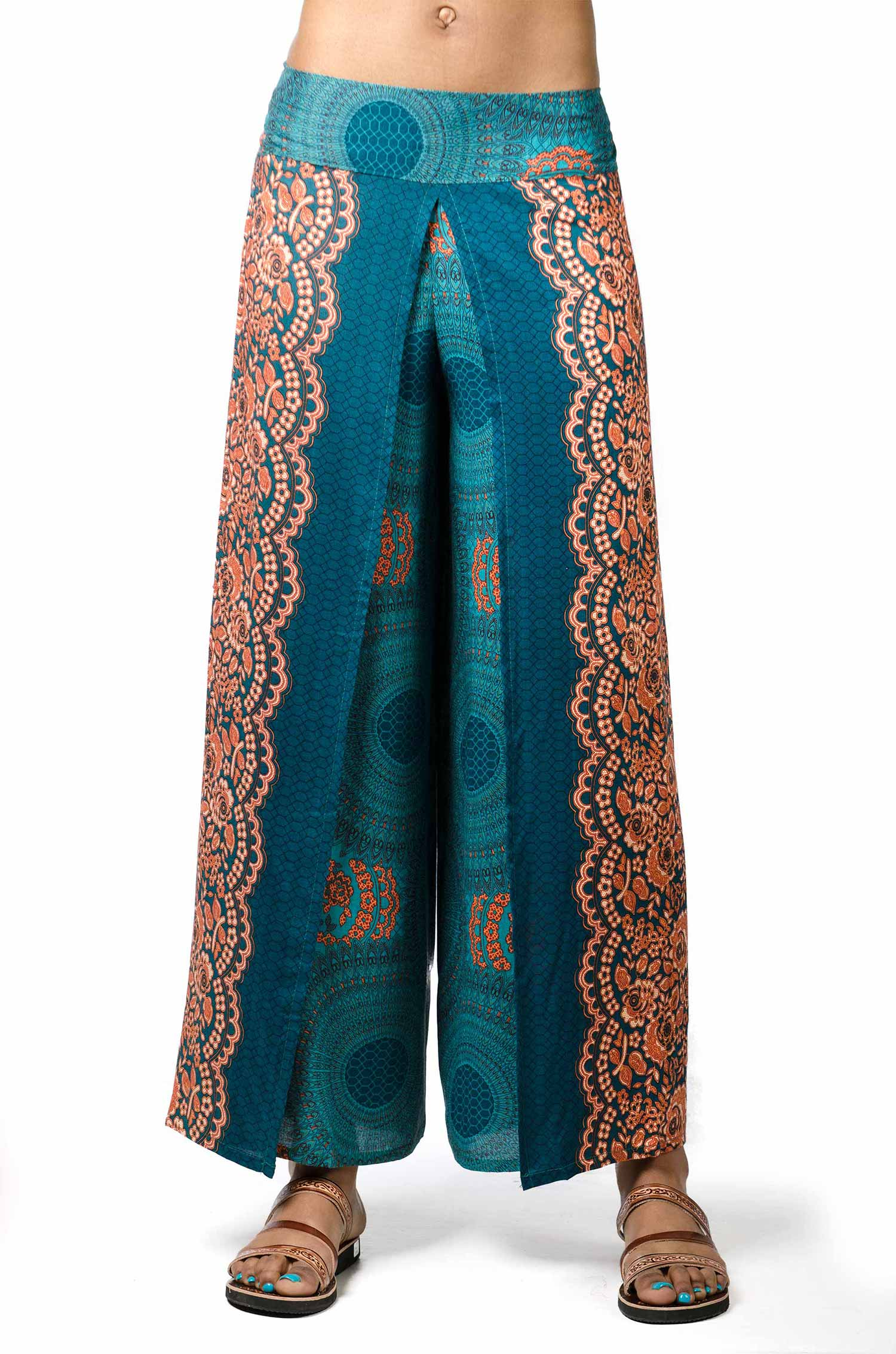 Wrap Leg Print Pants - Teal