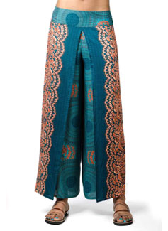 Honeycomb Print Wrap Leg Pants, Teal