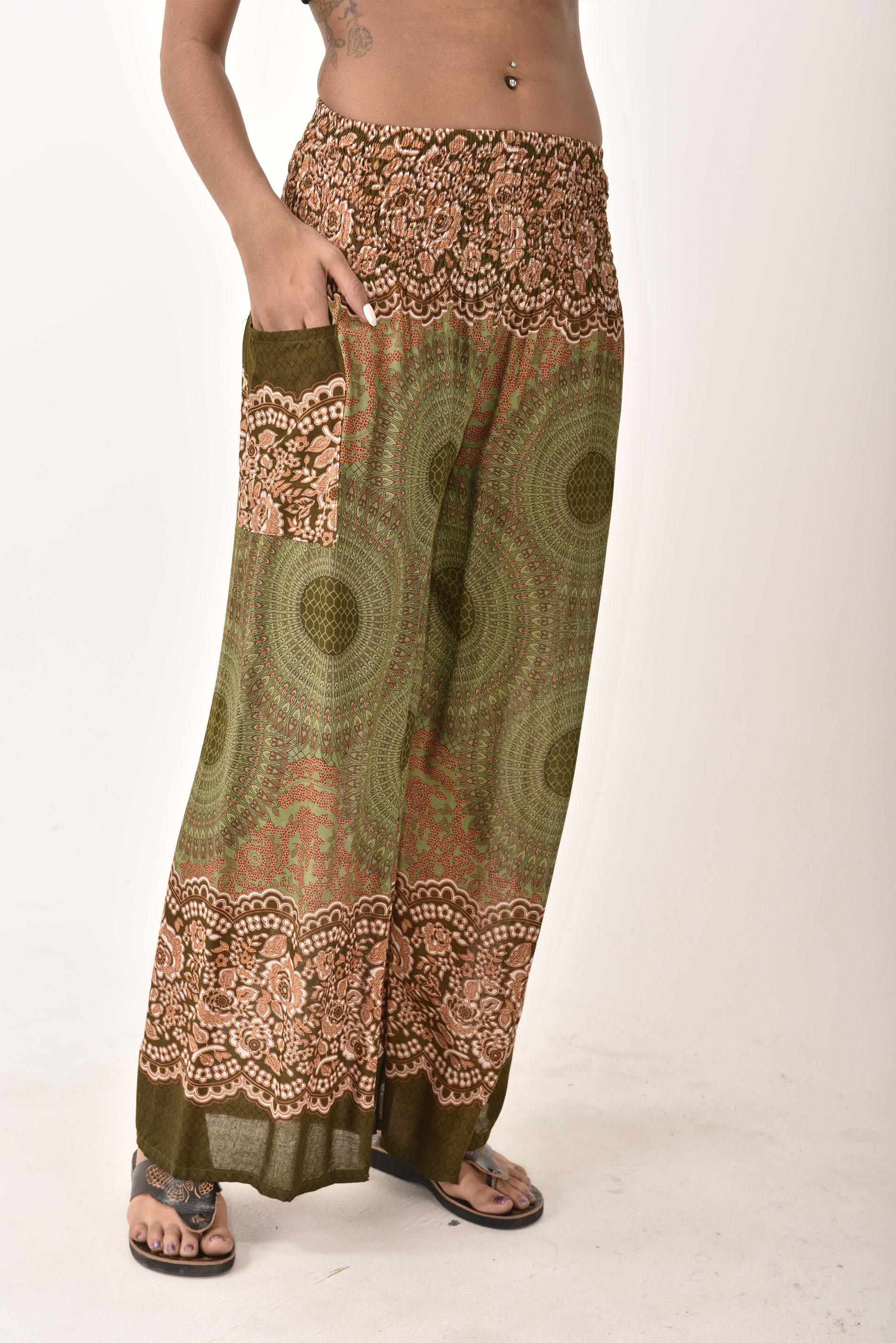 Wide Leg Pants Honeycomb Print, Green