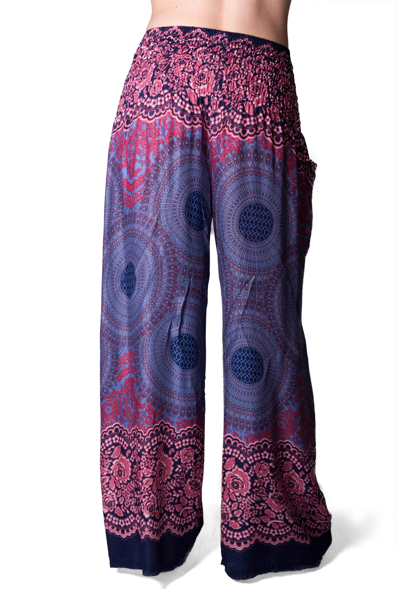 Honeycomb Print, Wide Leg Pants , Blue