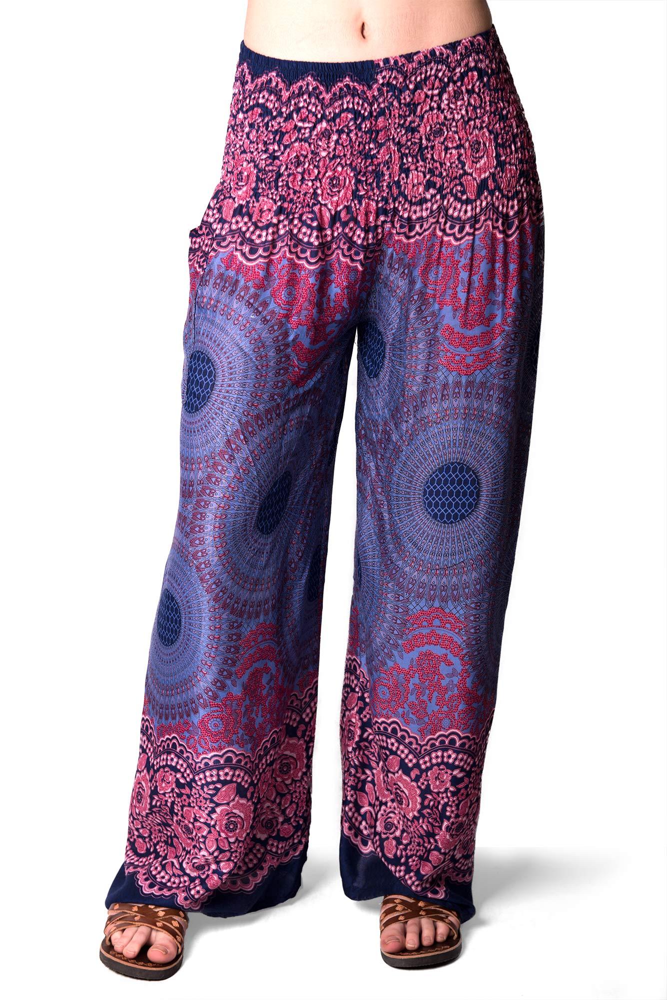 Honeycomb Print, Wide Leg Pants , Blue