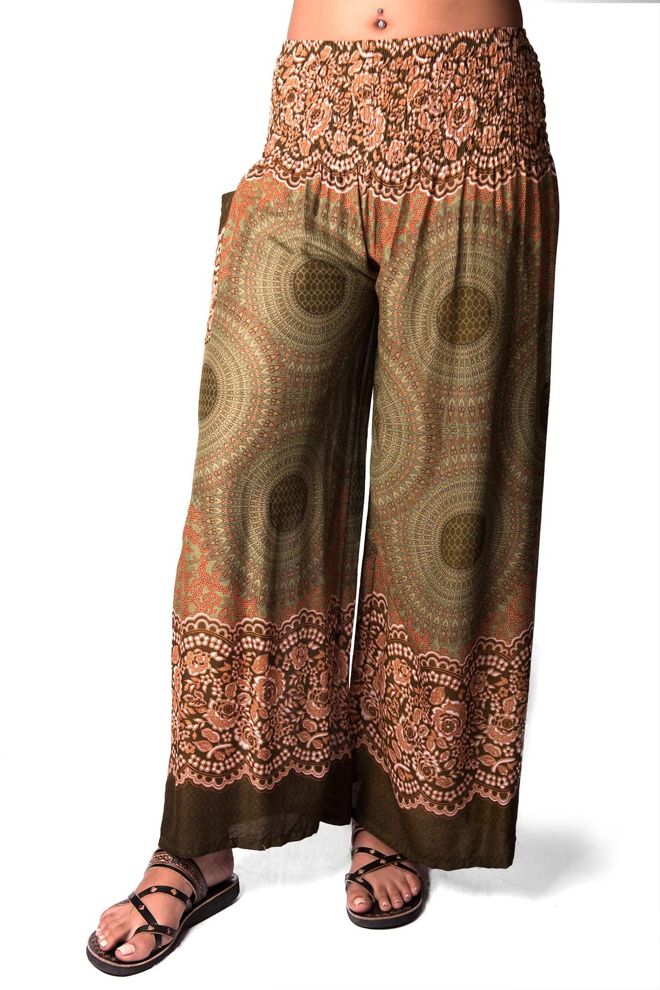 Honeycomb Print, Wide Leg Pants , Green
