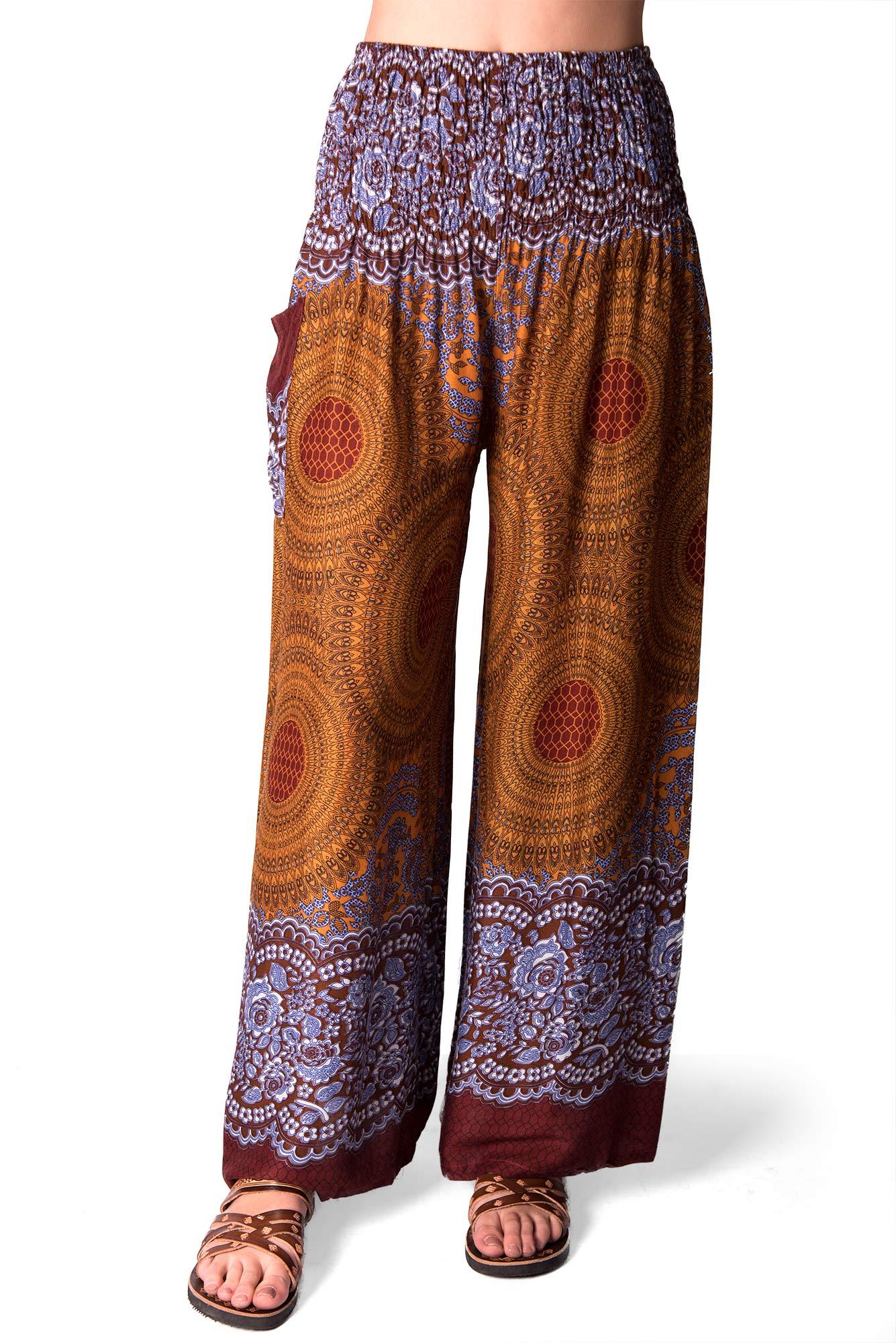 Wide Leg Pants Honeycomb Print, Brown-gold/Rayon