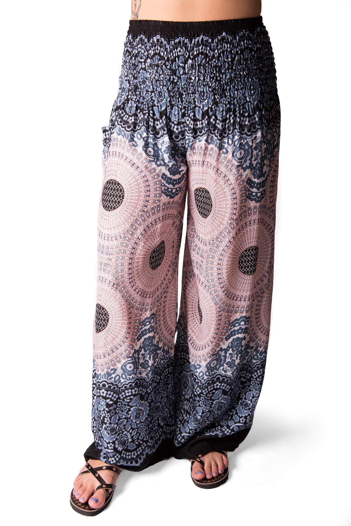 Wide Leg Pants Honeycomb Print, Grey - 3292Y
