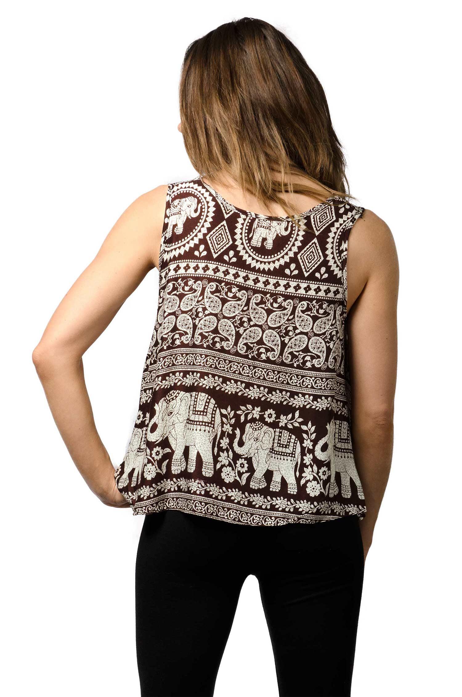 Elephant Print Tank Top - Brown