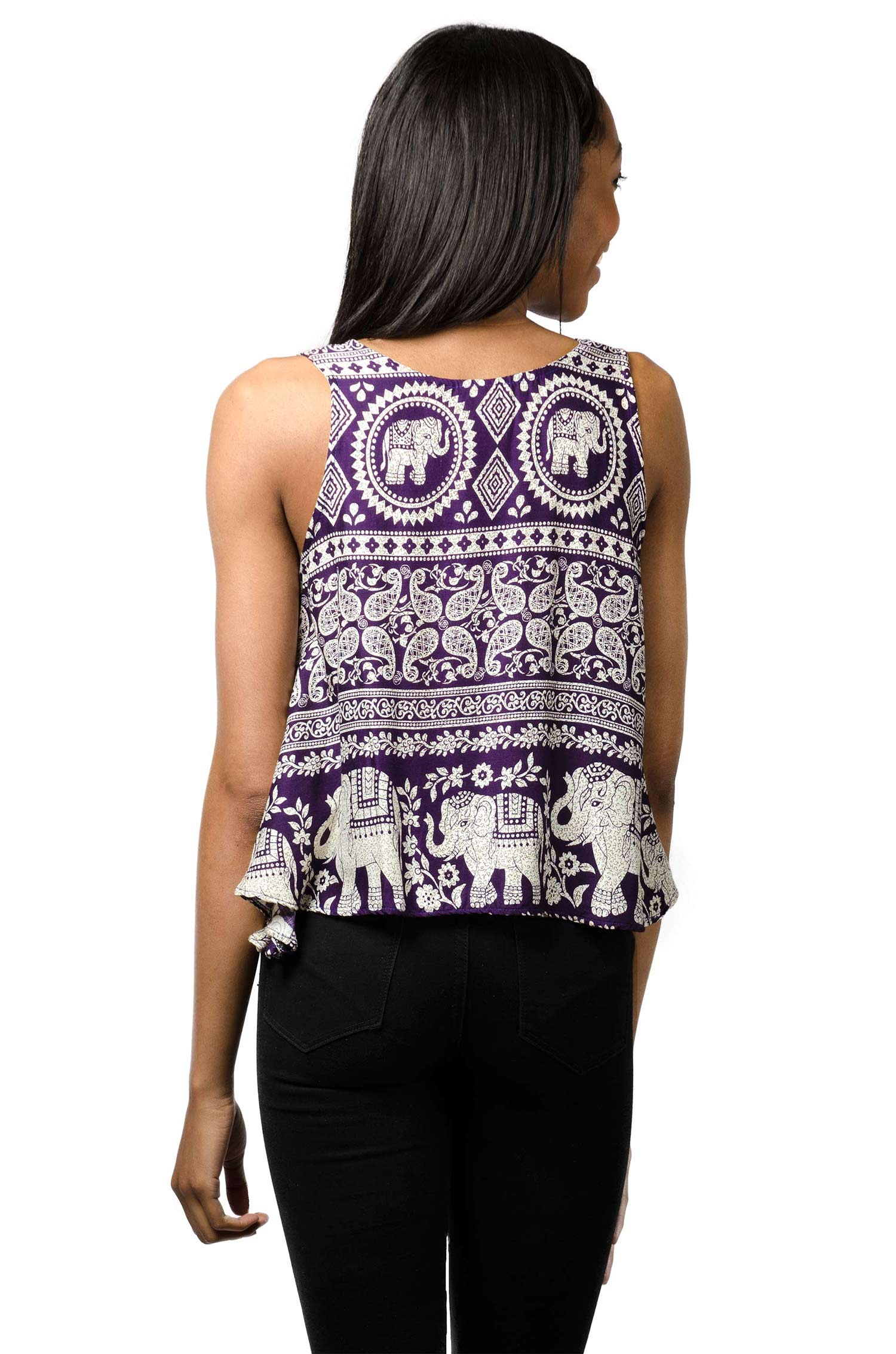 Elephant Print Tank Top - Purple