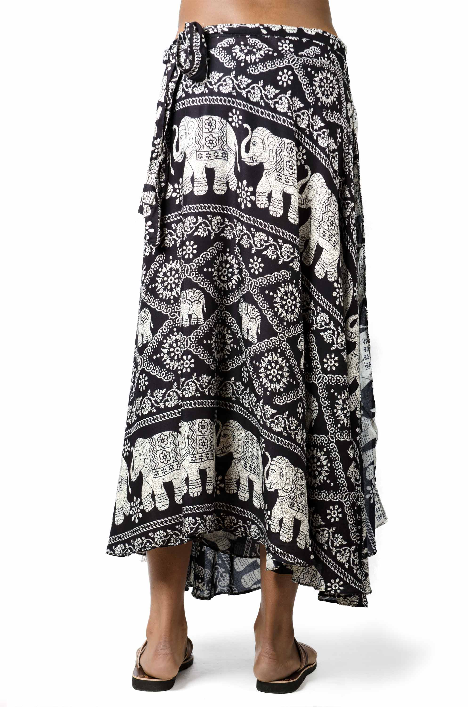 Elephant Print Long Wrap Skirt Black