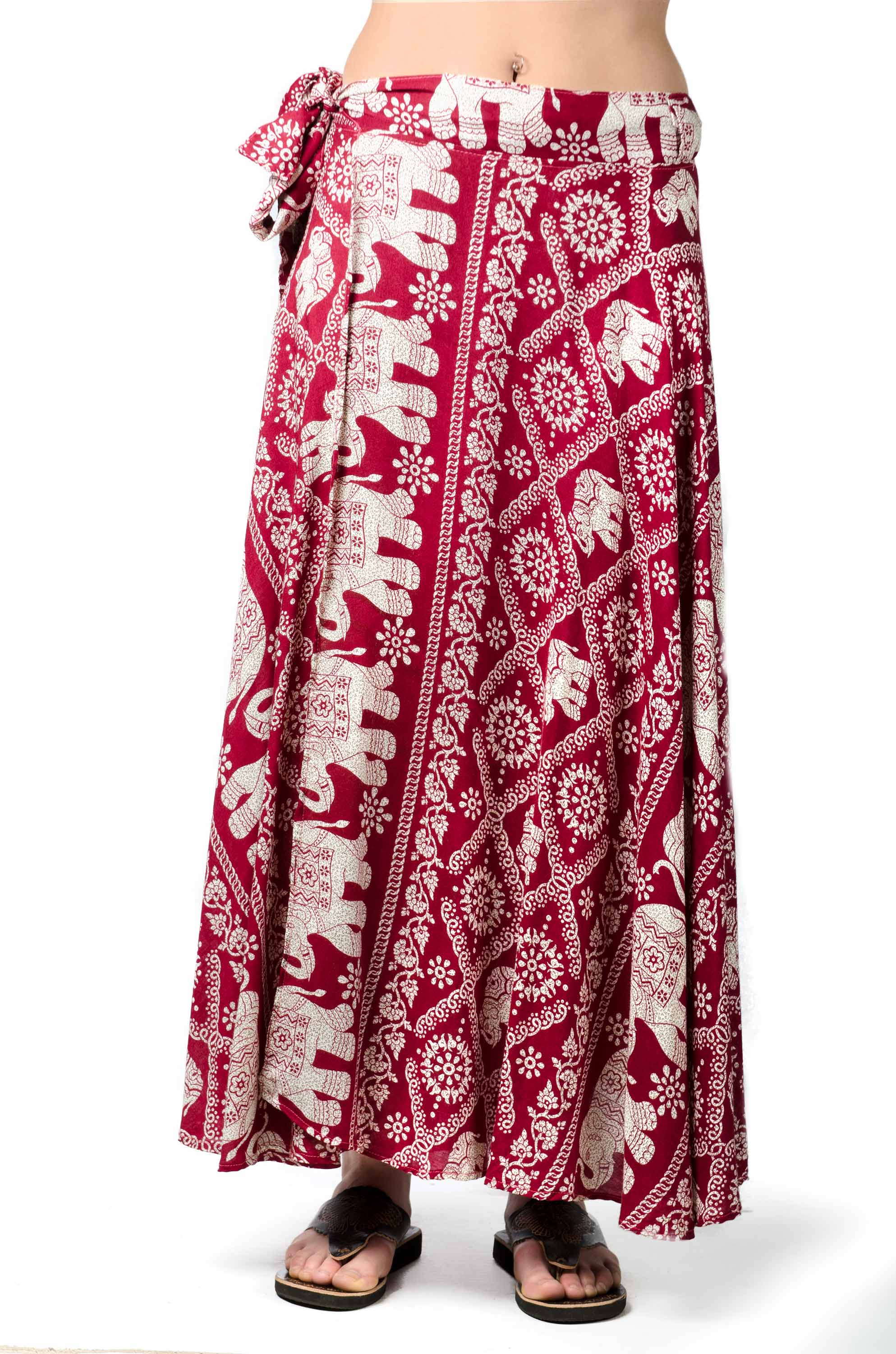 Elephant Print Long Wrap Skirt Red