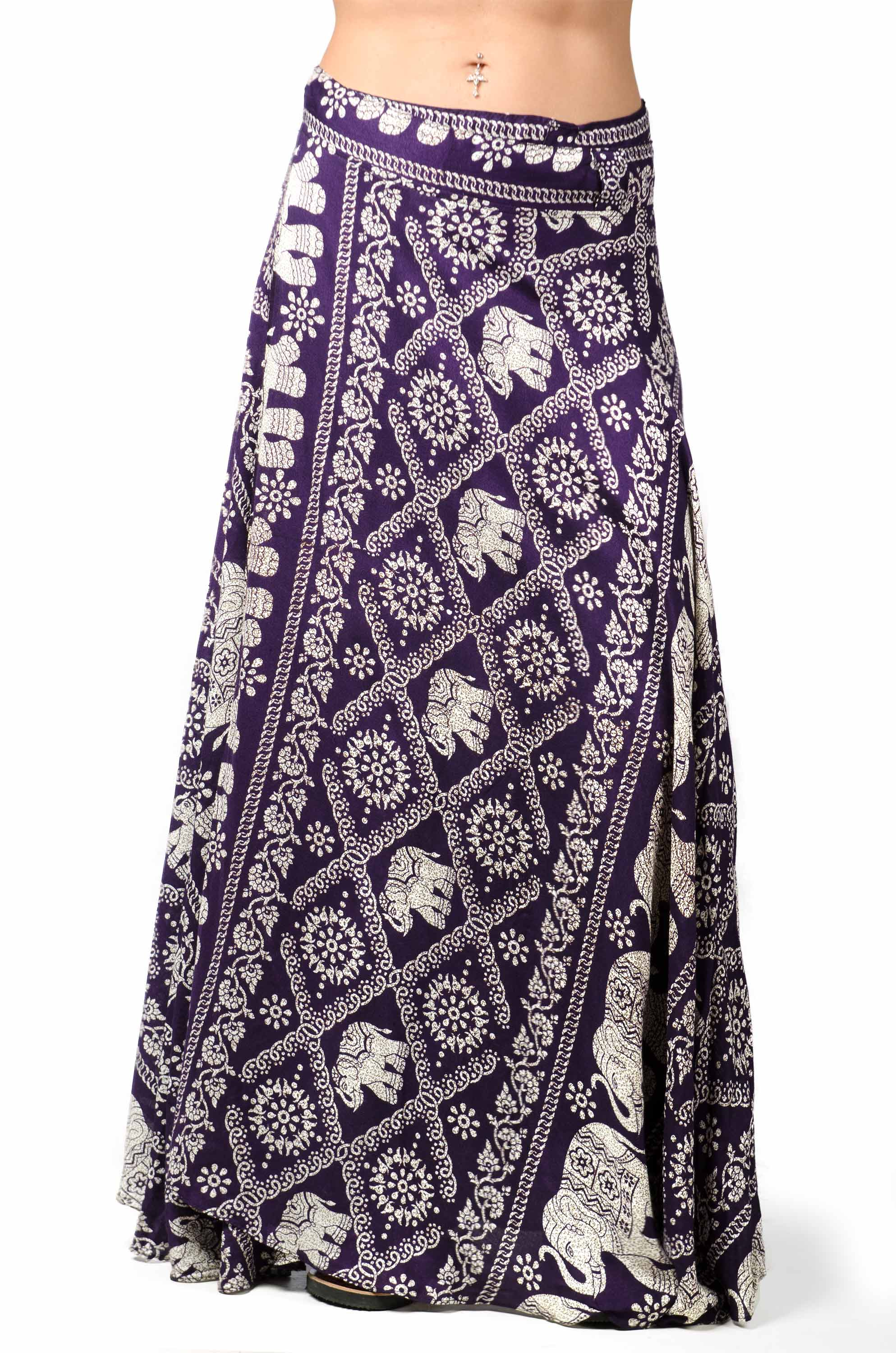 Elephant Print Long Wrap Skirt Purple