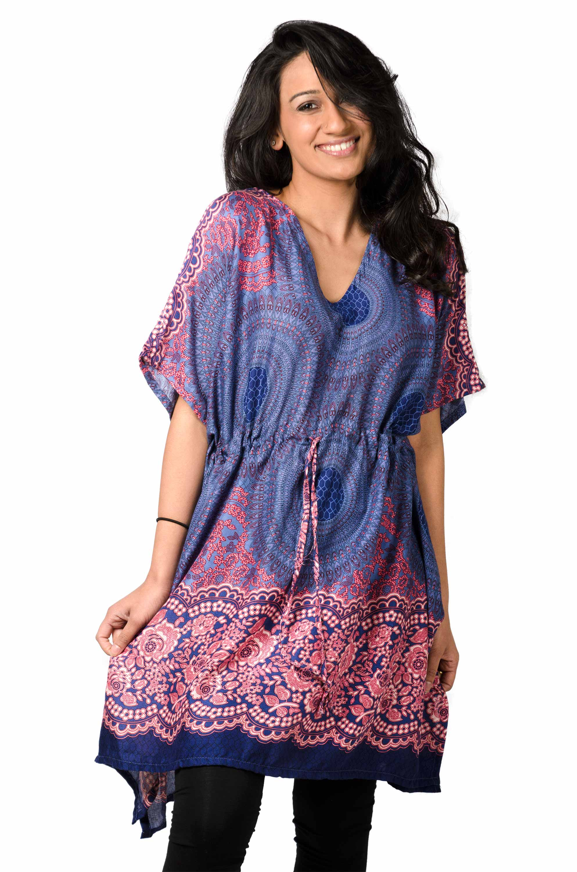 Honeycomb Print,Tunic Cape, Blue