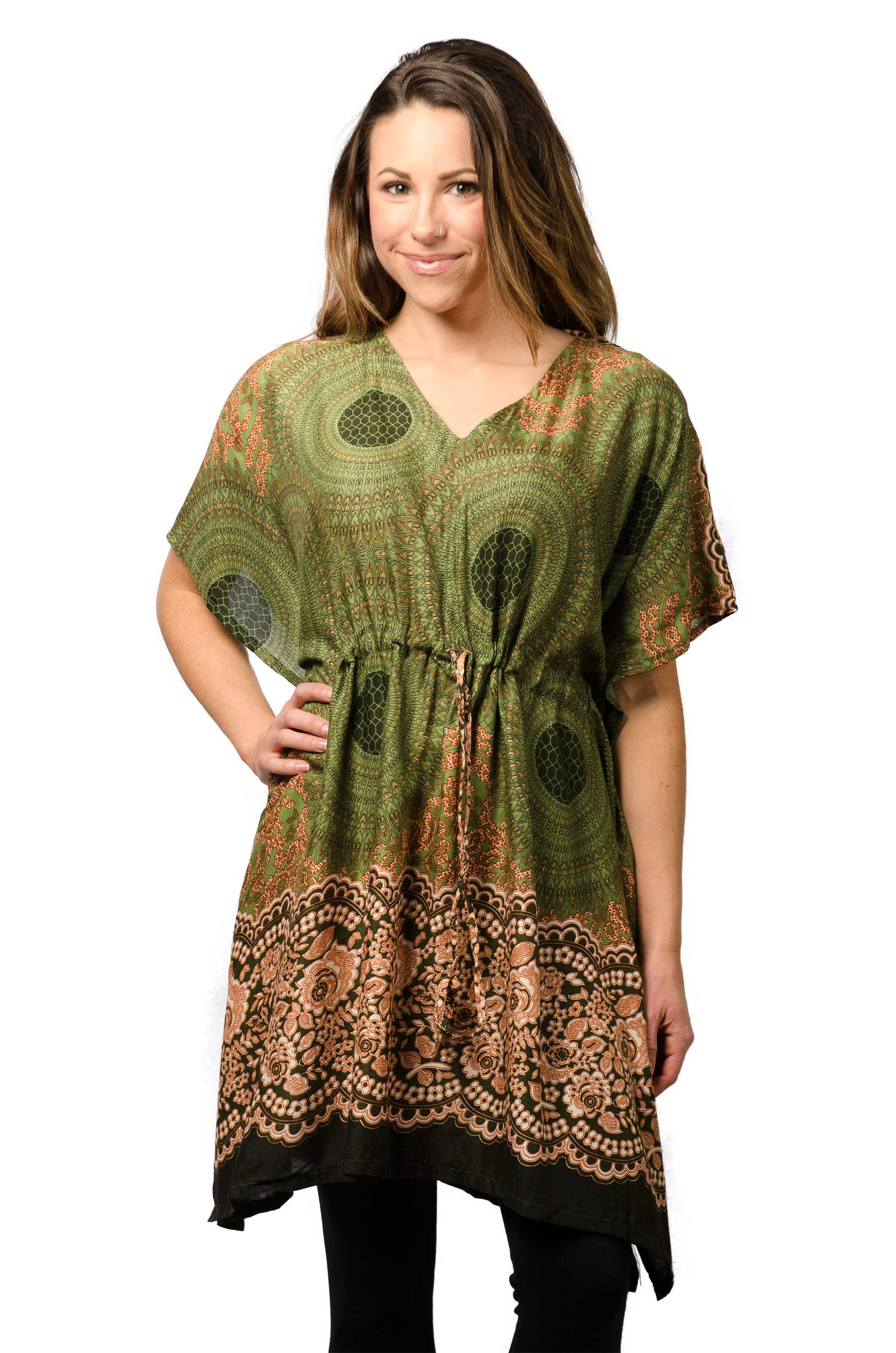 Honeycomb Print,Tunic Cape, Olive
