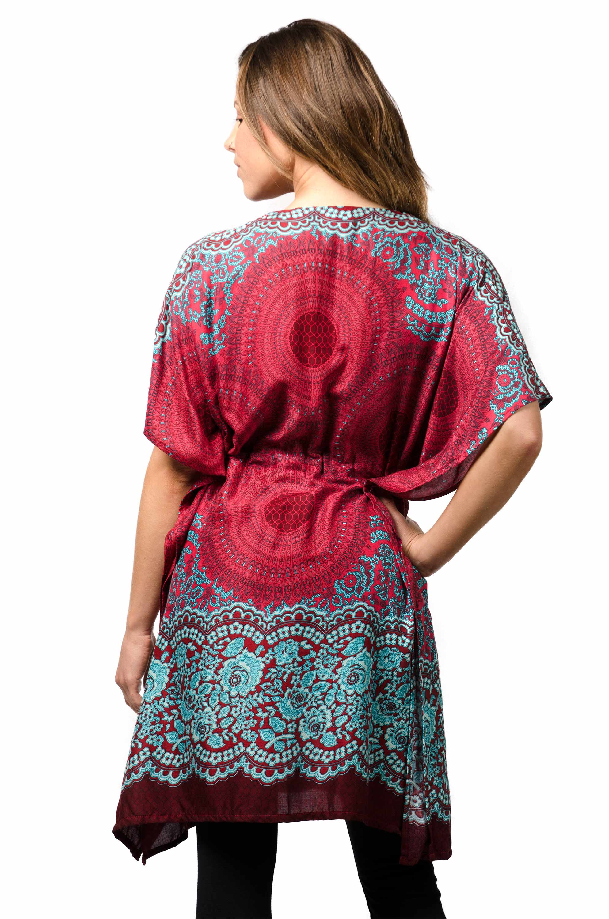 Honeycomb Print,Tunic Cape, Red