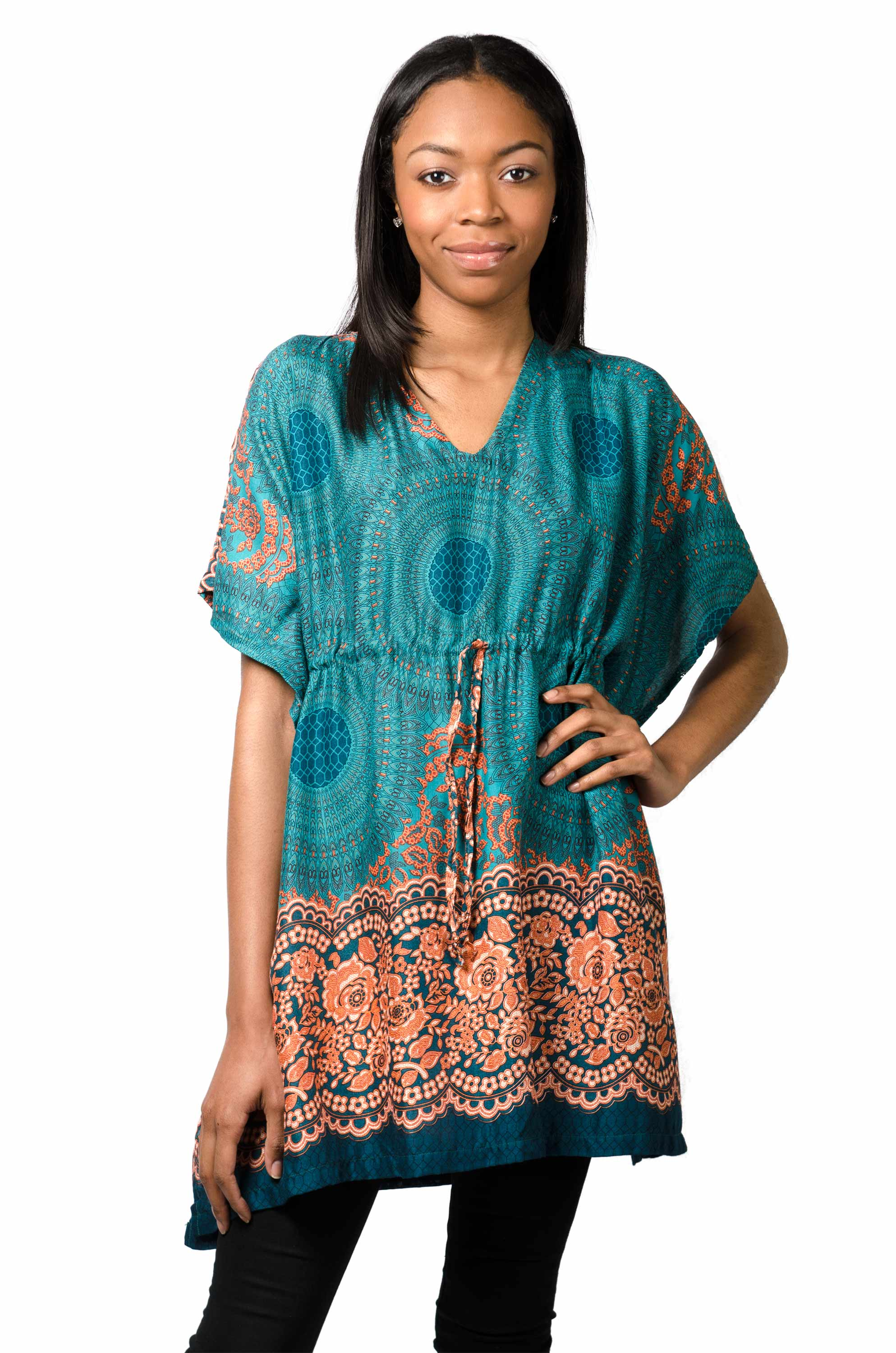 Tunic Cape, Honeycomb Print, Teal
