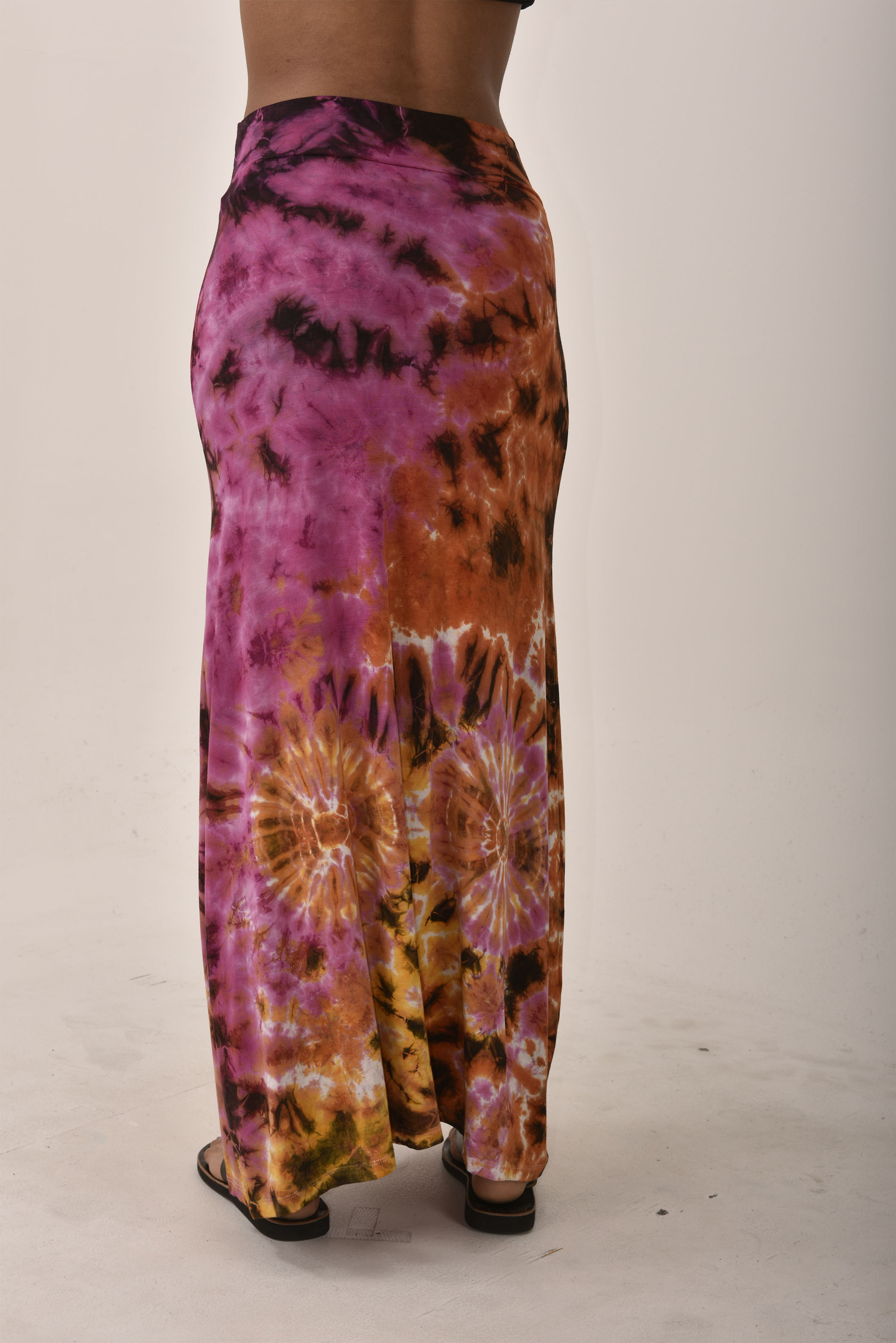 Hand Painted Tie Dye A-Line Maxi Skirt Rainbow