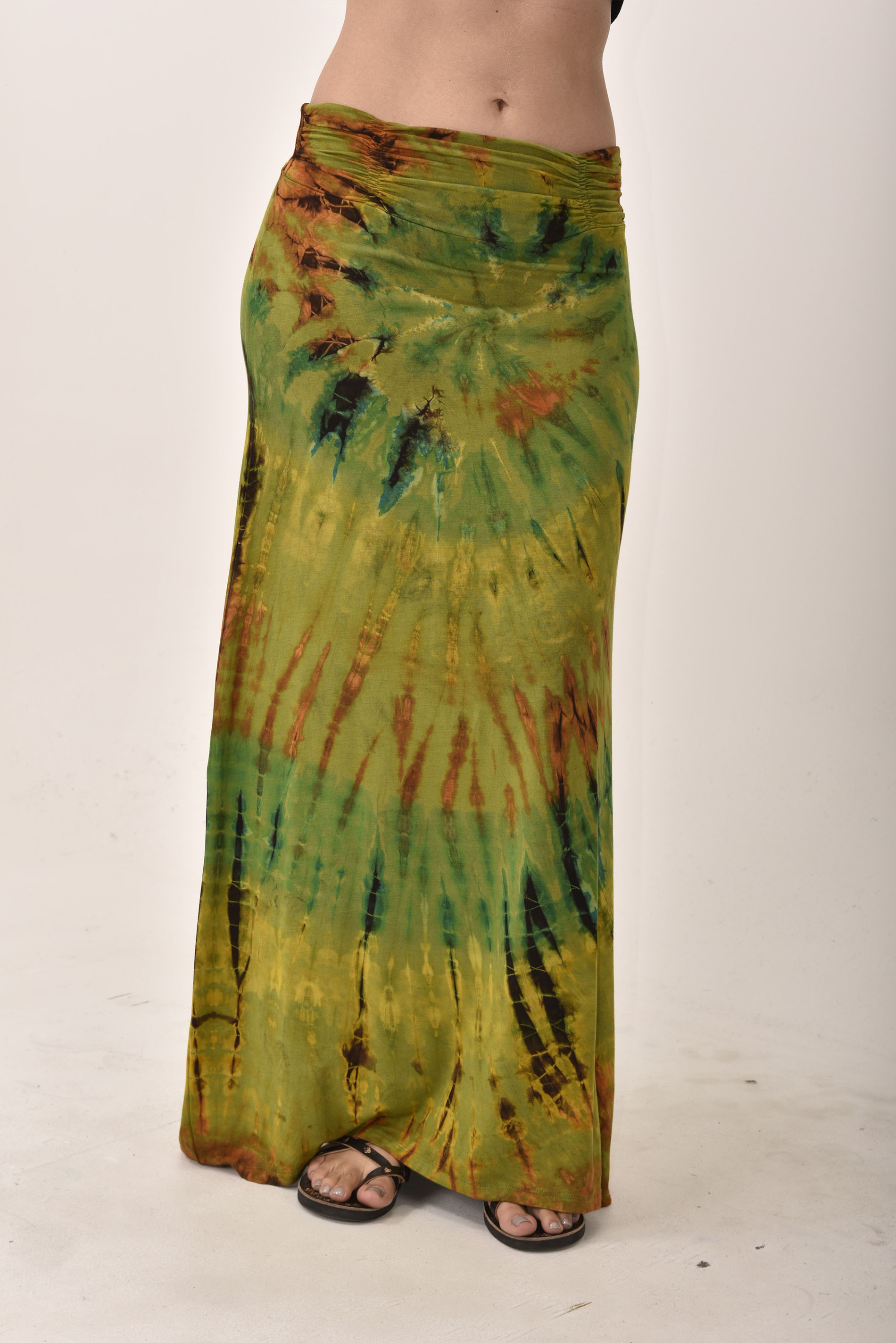 Hand Painted Tie Dye A-Line Maxi Skirt Olive Rust