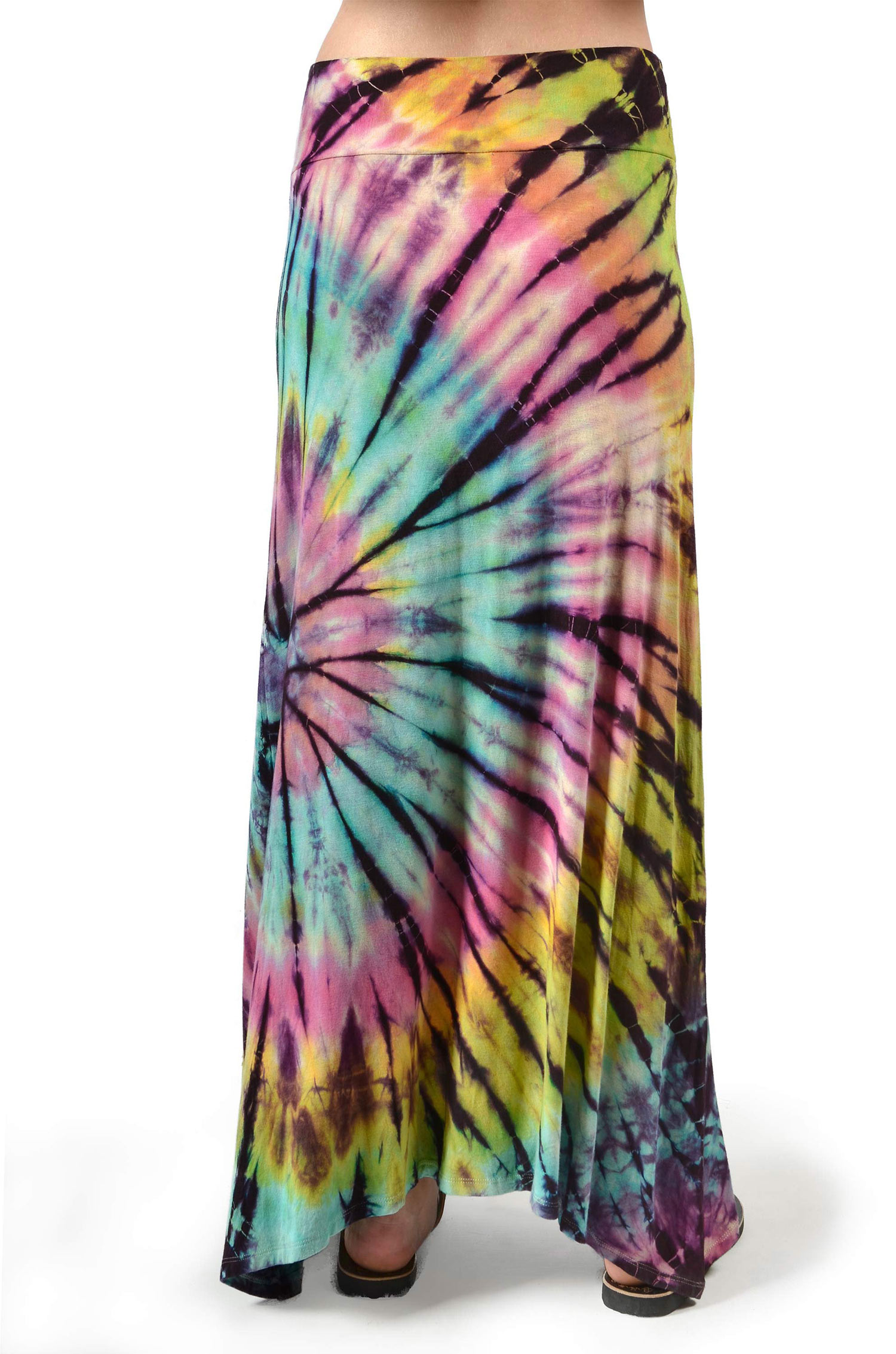 Hand Painted Tie Dye,A-Line Maxi Skirt, Rainbow Multi