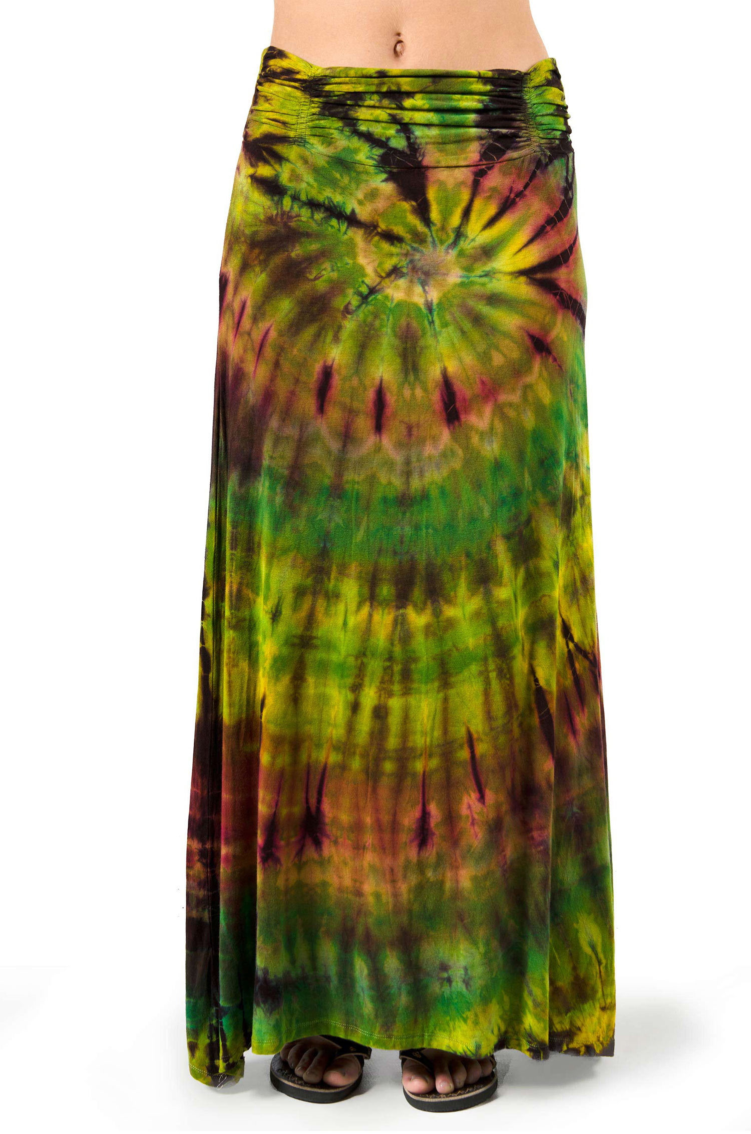 Hand Painted Tie Dye, A-Line Maxi Skirt, Olive Rust Multi