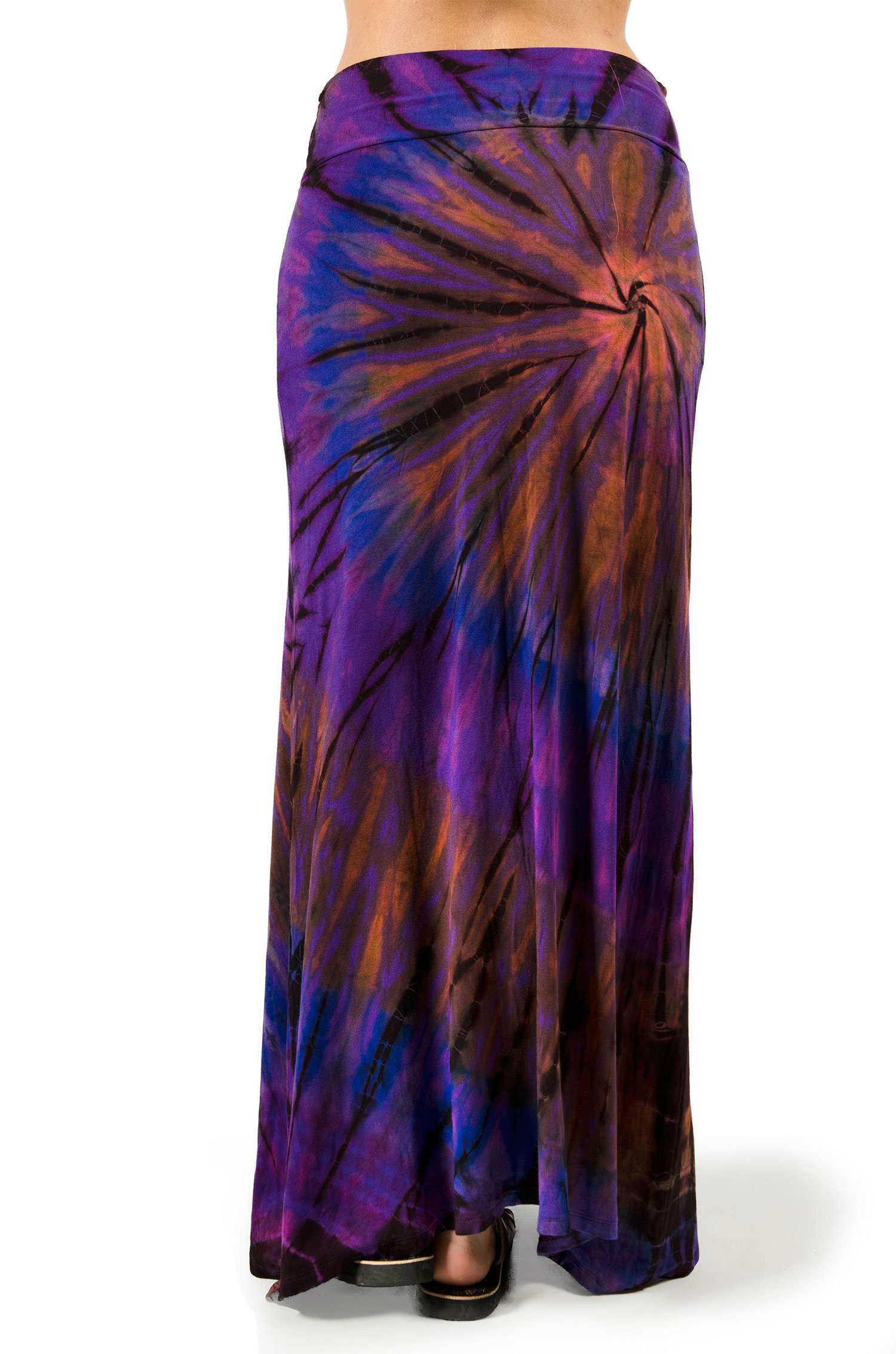 Hand Painted Tie Dye, A-Line Maxi Skirt, Purple Multi
