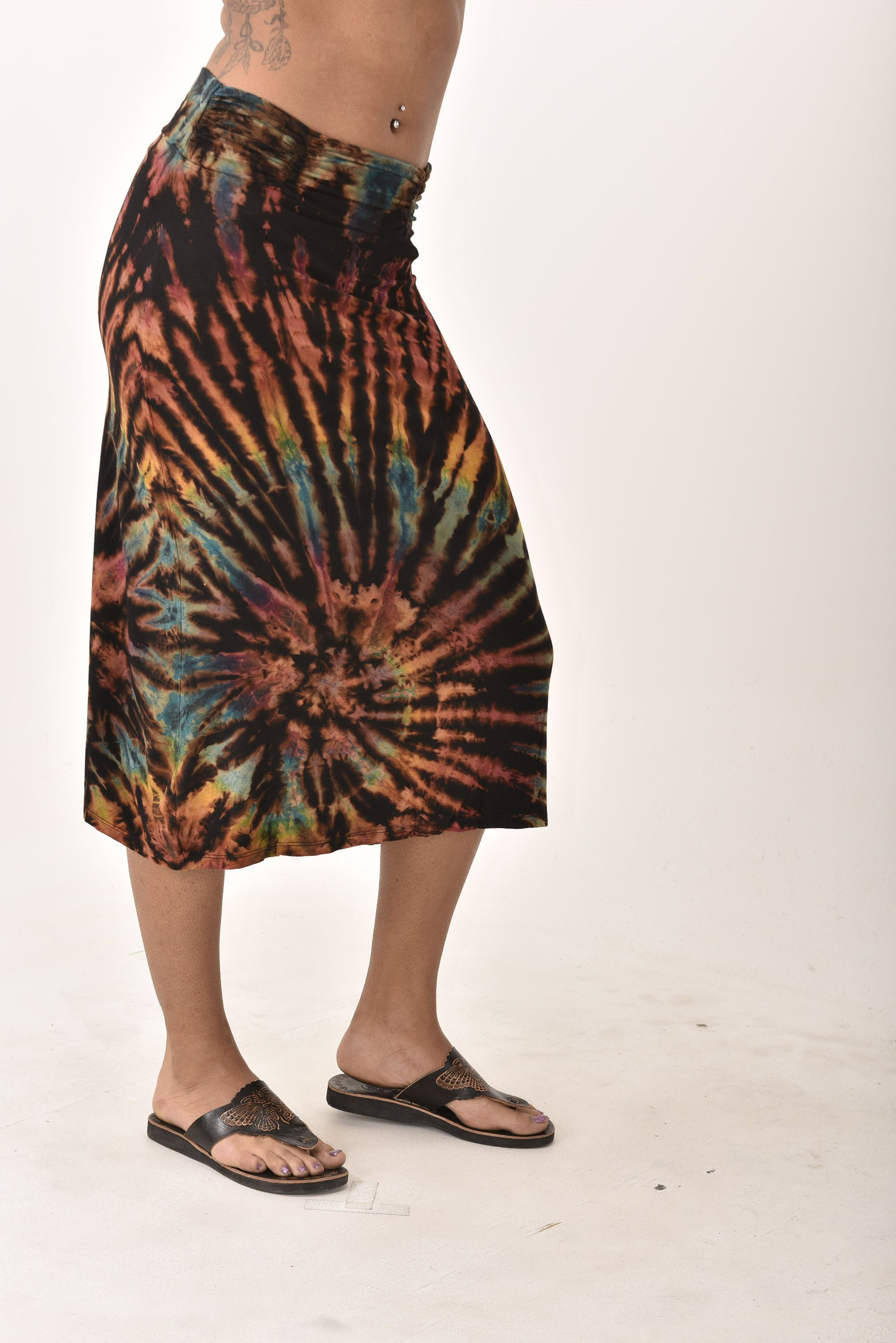 Hand Painted Tie Dye A-Line Midi Skirt Black