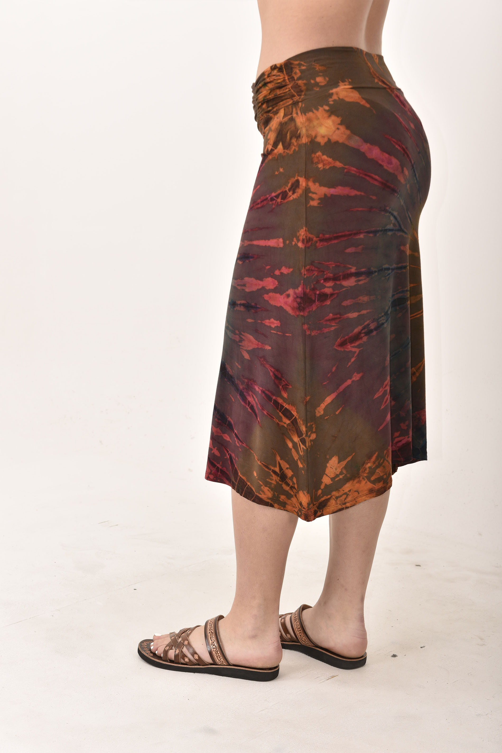 Hand Painted Tie Dye A-Line Midi Skirt Rust