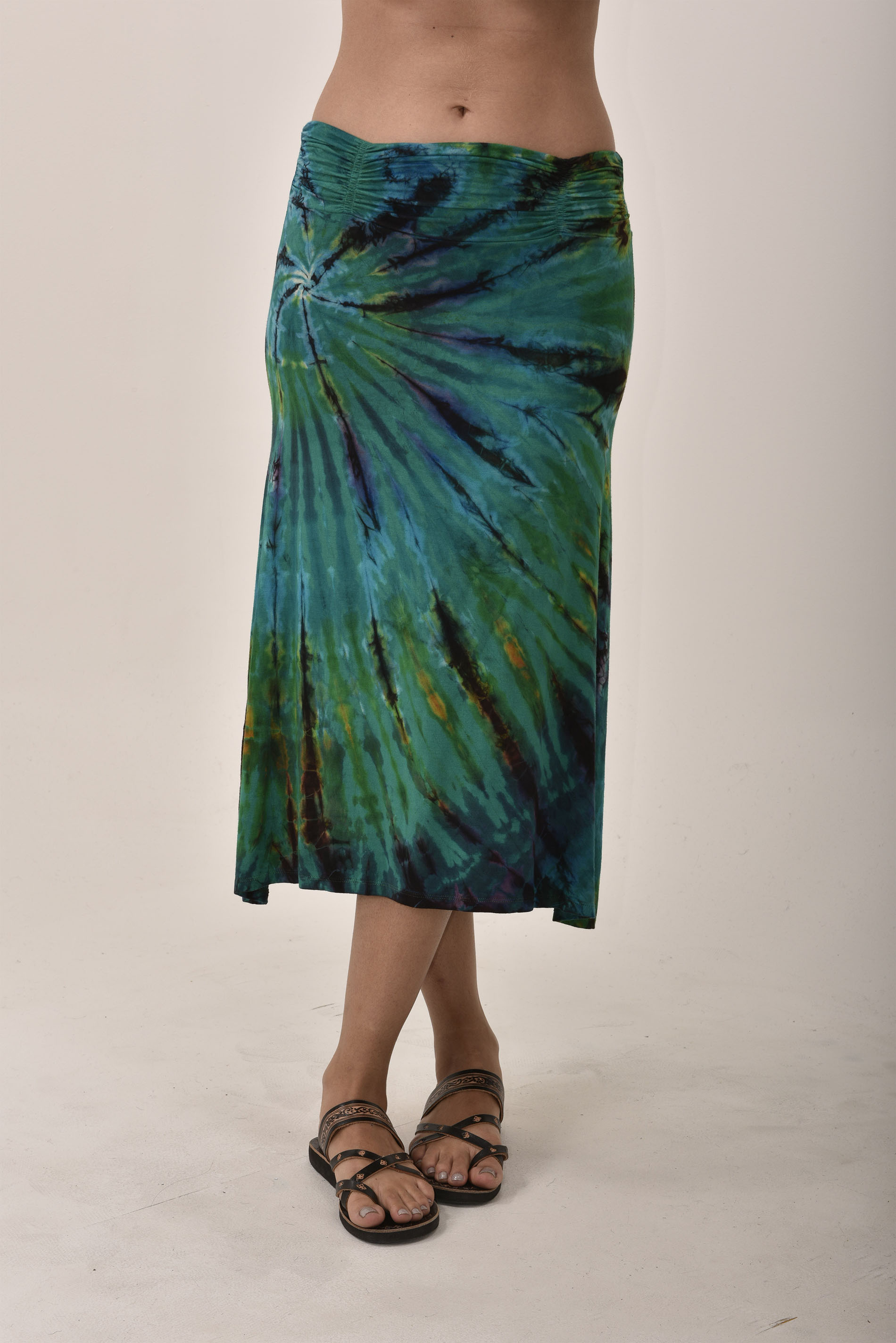 Hand Painted Tie Dye A-Line Midi Skirt Teal