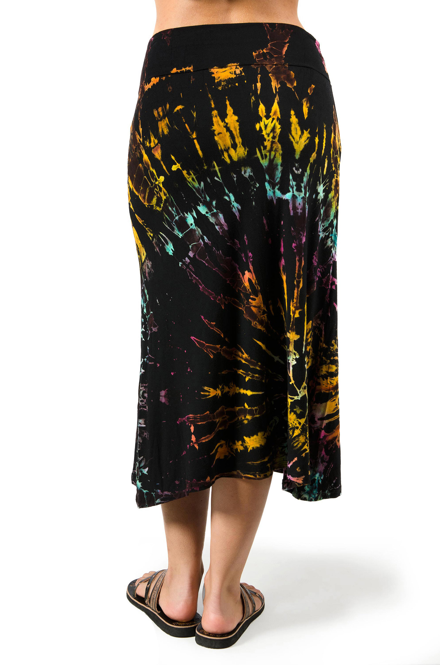 Hand Painted Tie Dye A-Line Midi Skirt - Black Multi - 3428K