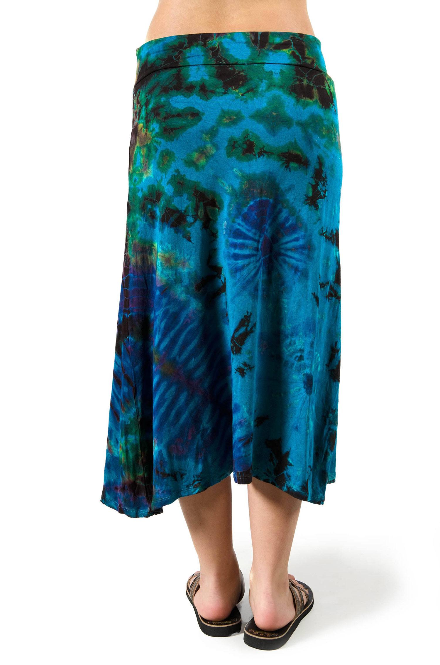 Hand Painted Tie Dye A-Line Midi Skirt - Teal Multi - 3428T
