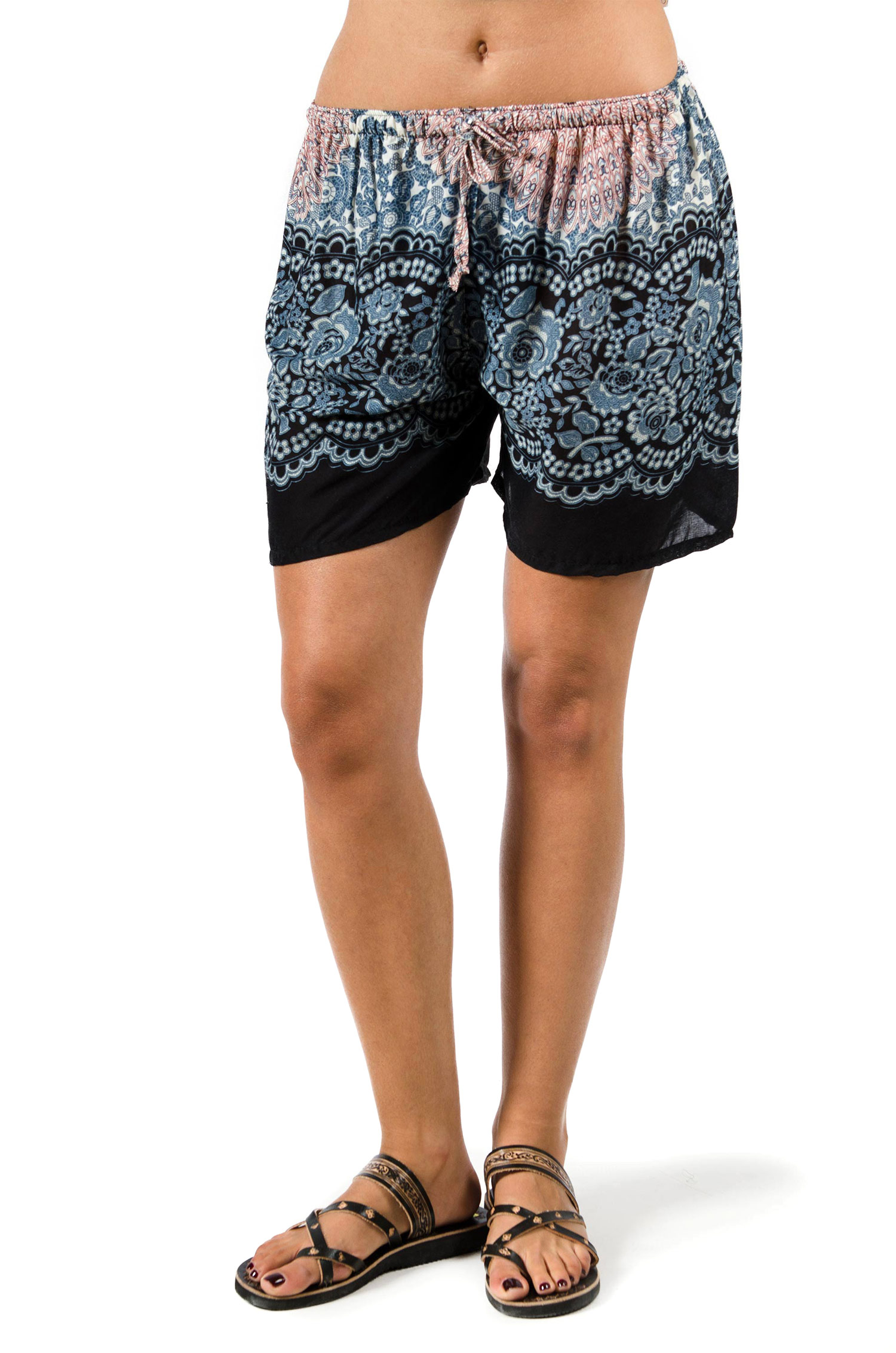 Shorts Rose Print, Grey - 3541Y