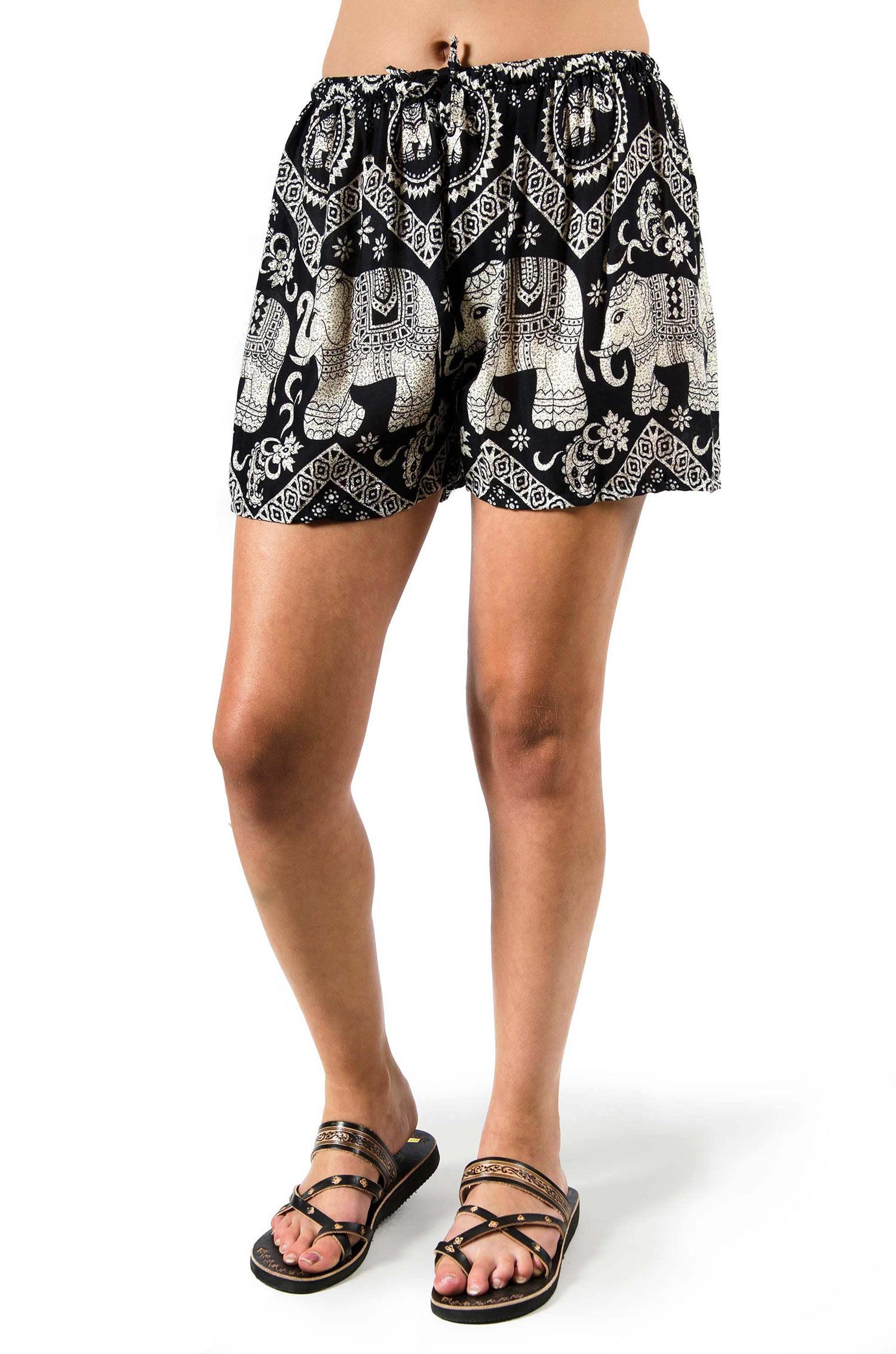 Elephant Print Shorts - Black - 3542K