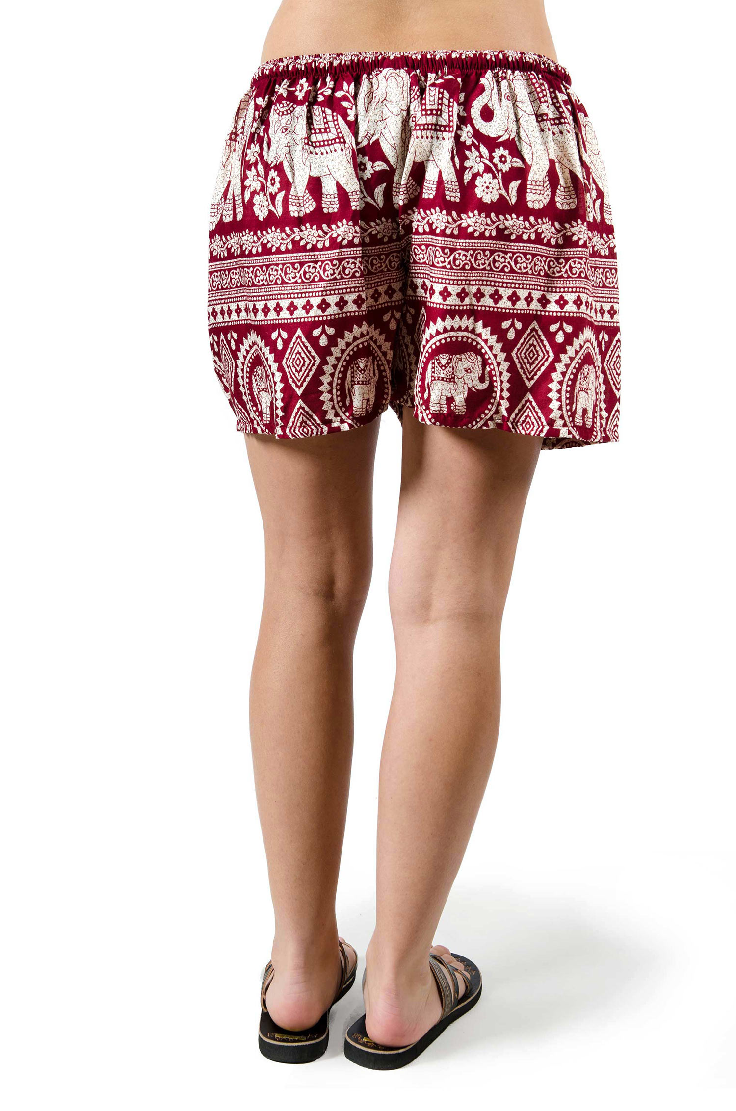 Elephant Print Shorts - Red - 3542R